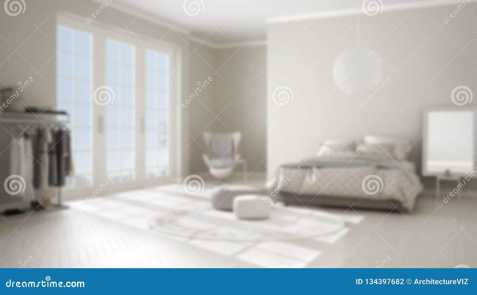 Diseño interior del fondo de la falta de definición, dormitorio moderno cómodo con el piso de entarimado de madera, ventana panor