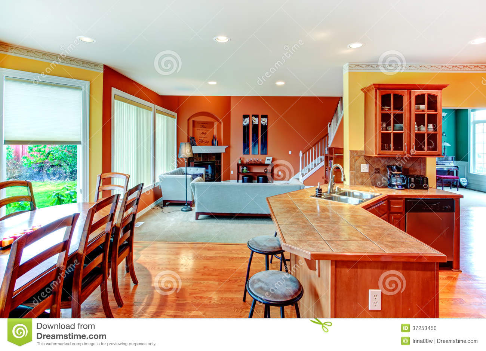 Dise o interior gran cocina cena y combinati de la sala for Sala de estar y cocina