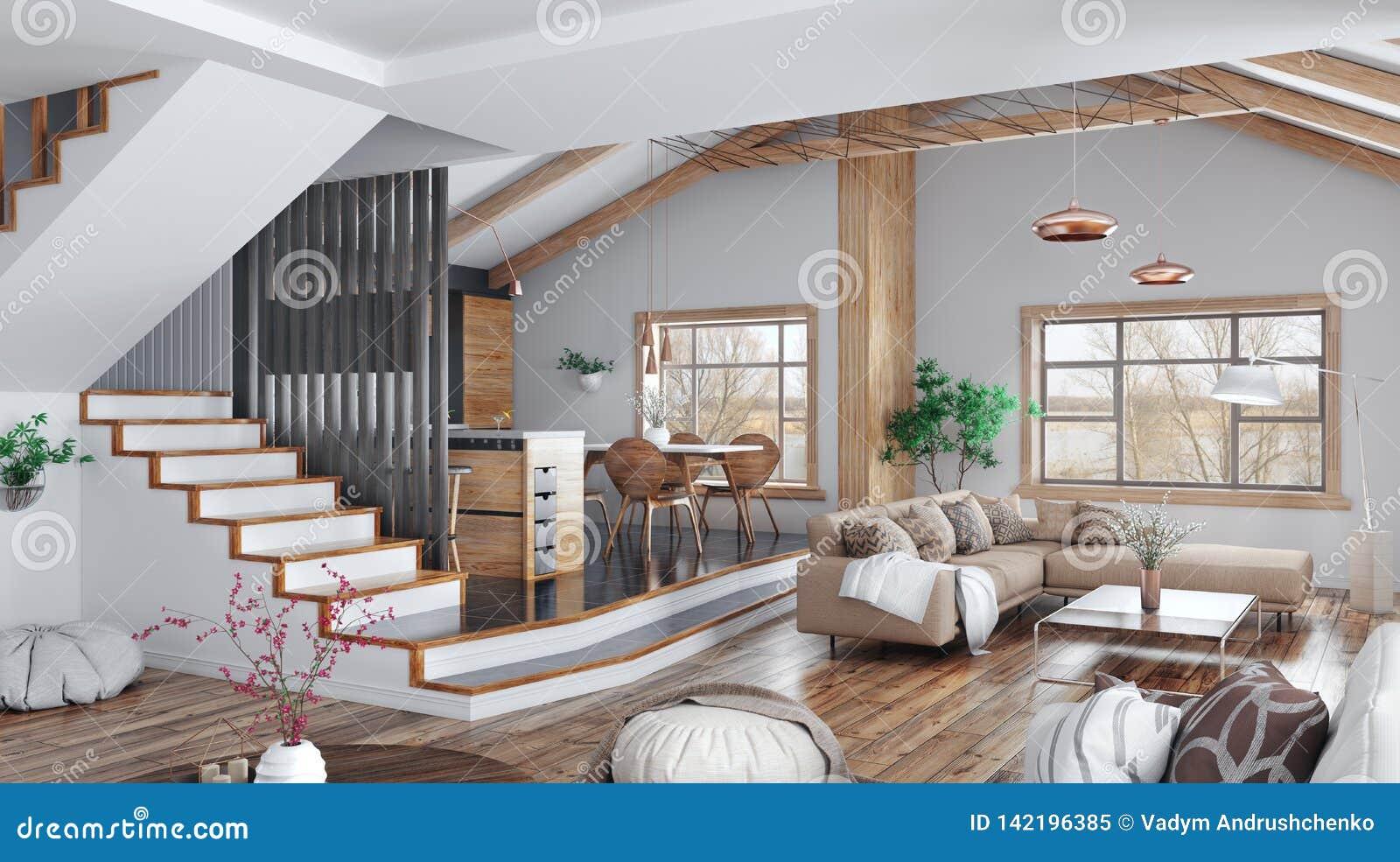 Diseño interior moderno de casa, cocina, sala de estar con el sofá, representación de la escalera 3d