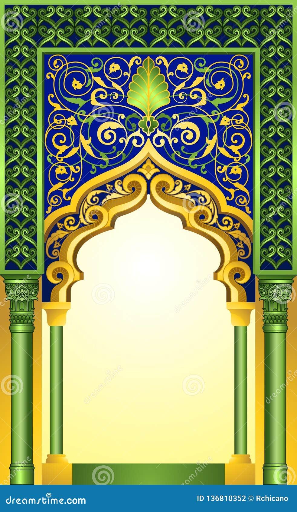 Diseño islámico del arco en esmeralda elegante y color oro con los ornamentos florales detallados del alto
