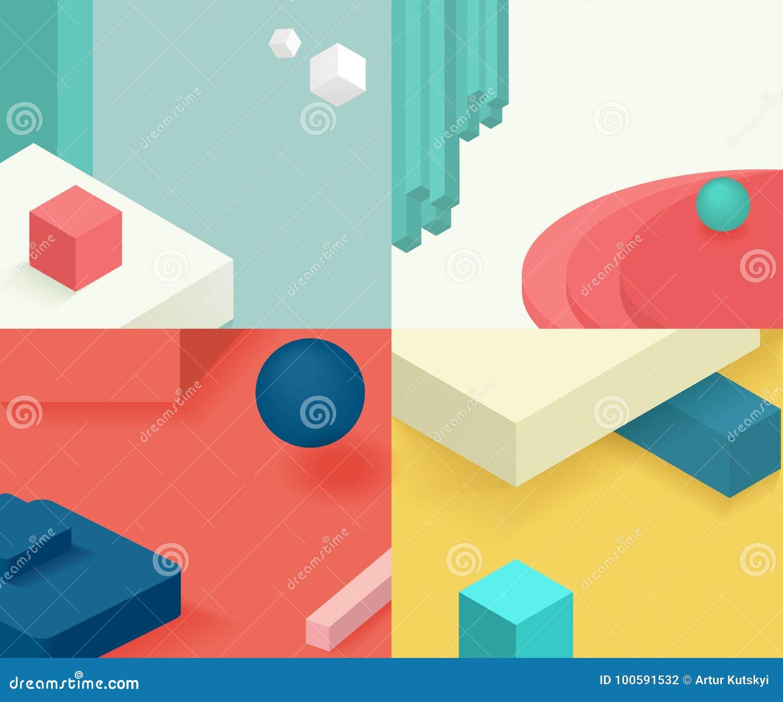 Diseño Isométrico De La Cubierta De La Plantilla Diseño Simple ...