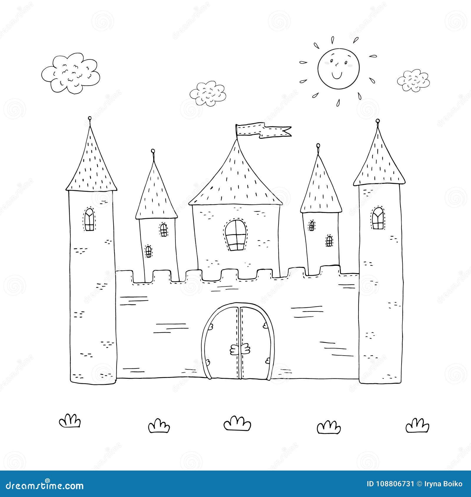 Diseño Mágico Del Castillo Del Libro De Colorear Para Los Niños ...