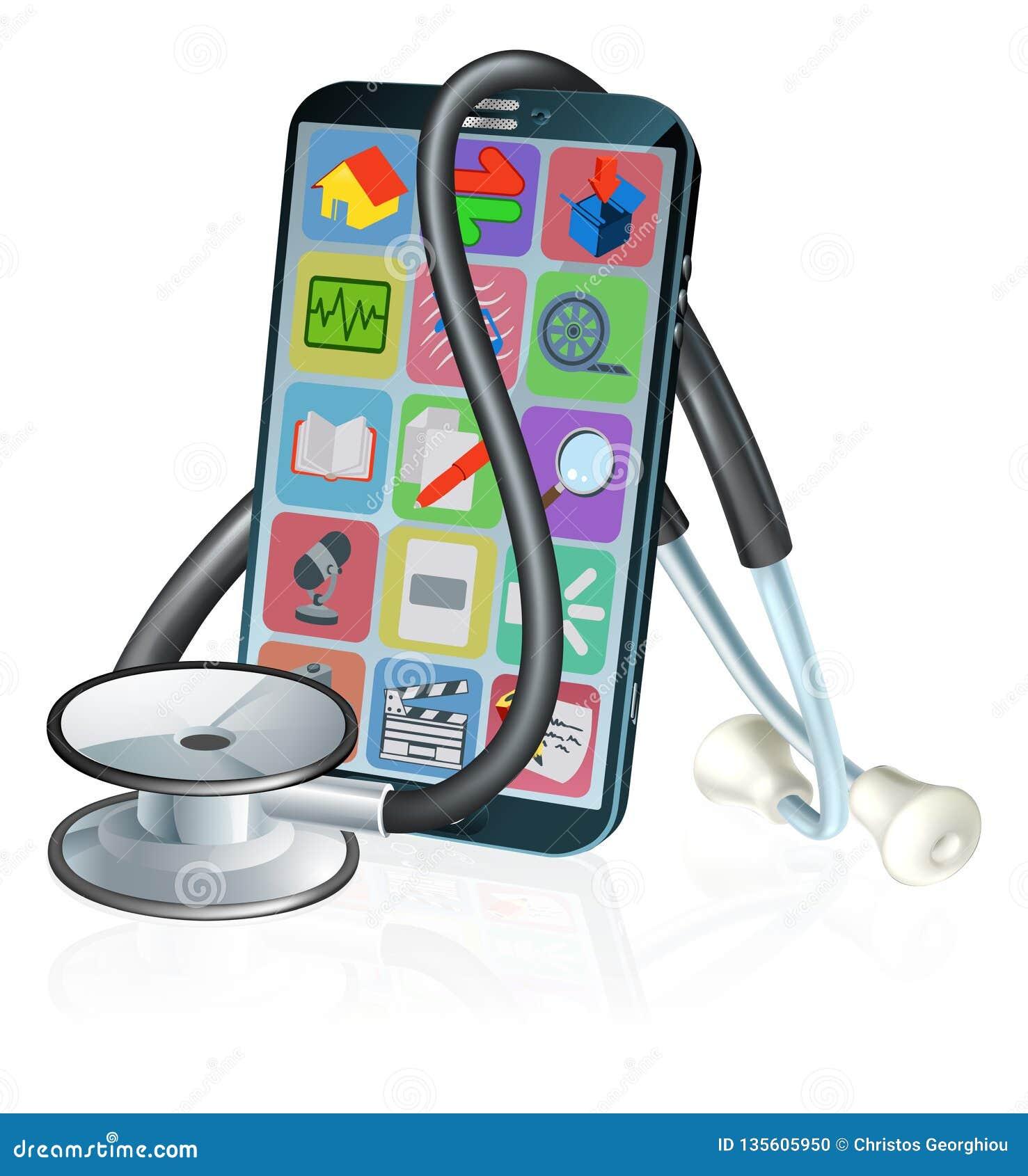 Diseño médico del estetoscopio del App de la salud del teléfono móvil