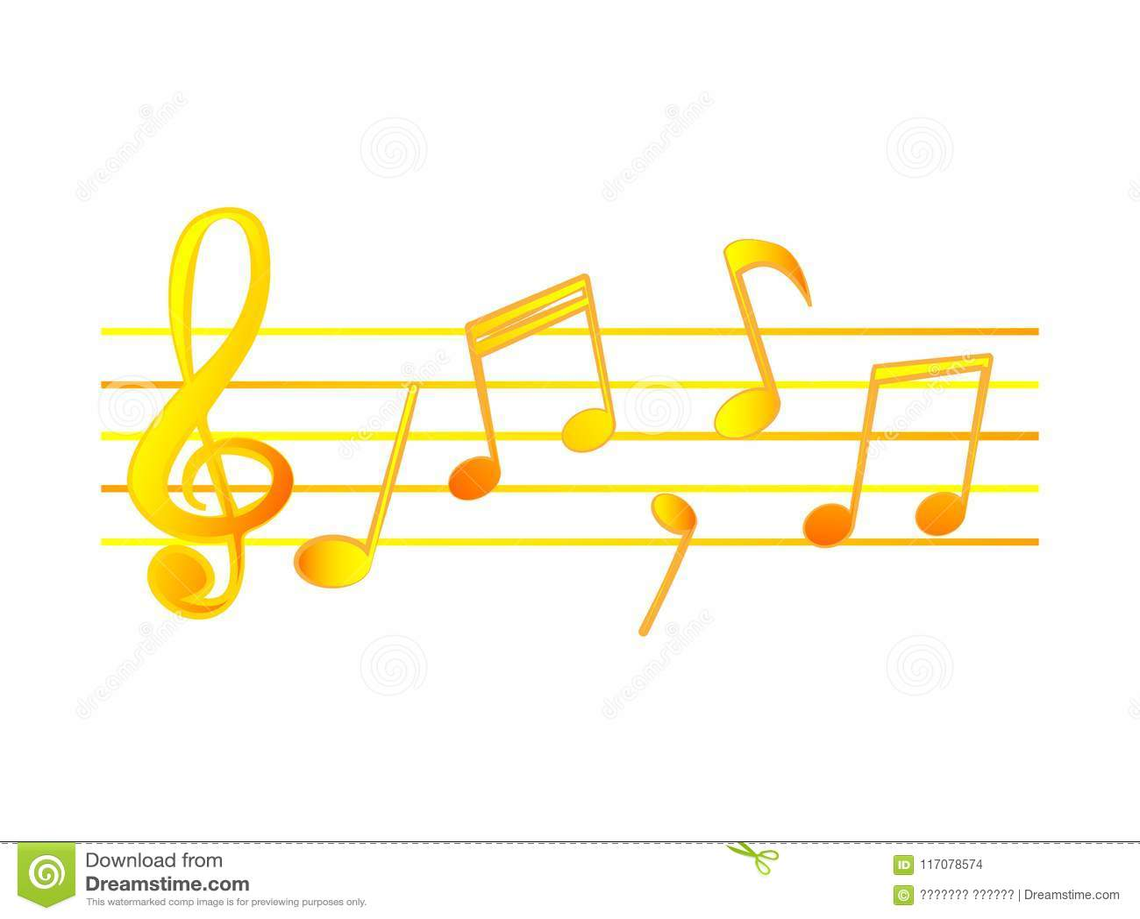 Diseño Maravilloso De Notas Musicales De Oro Sobre Un