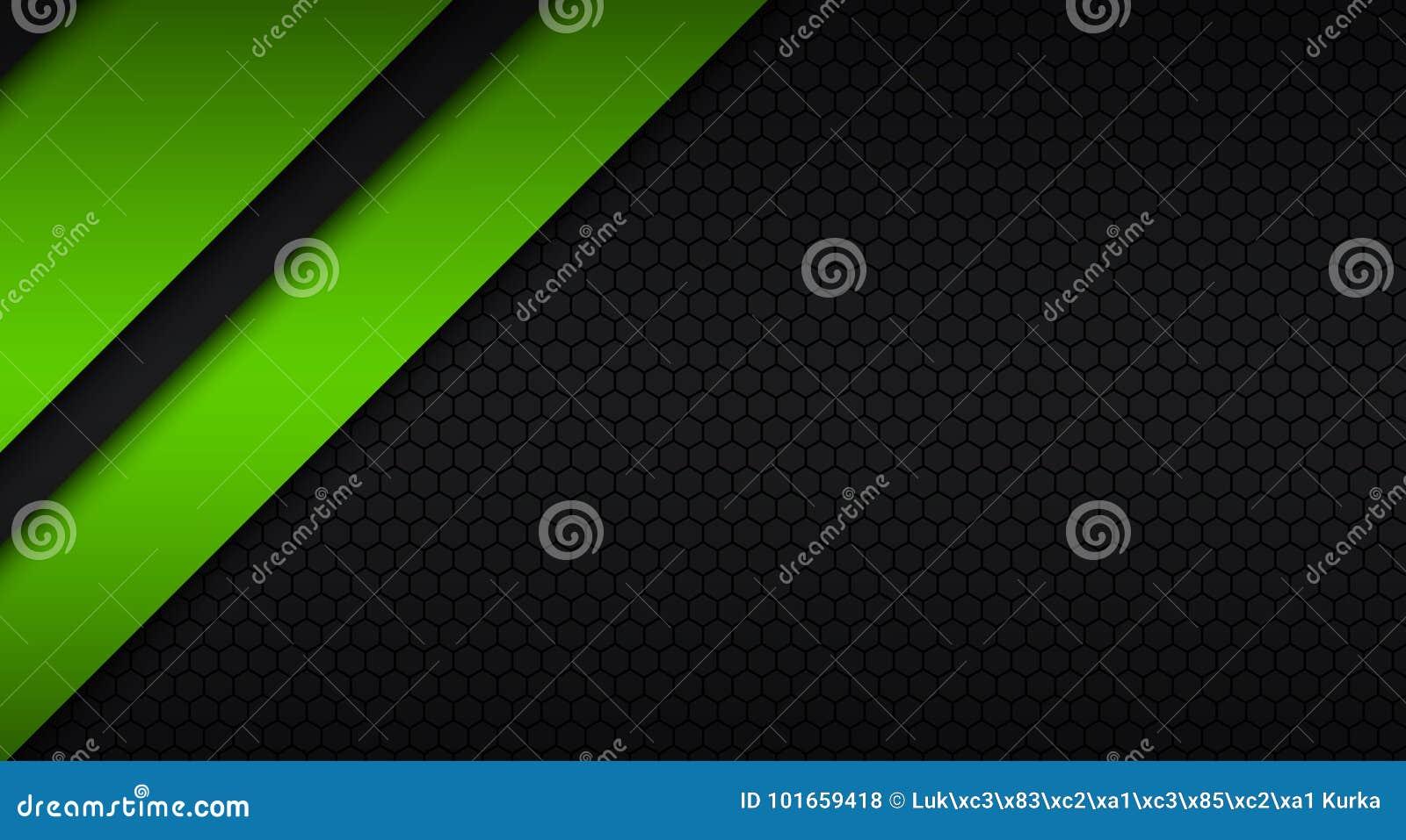 Diseño Material Moderno Negro Y Verde Con Un Modelo Hexagonal ...
