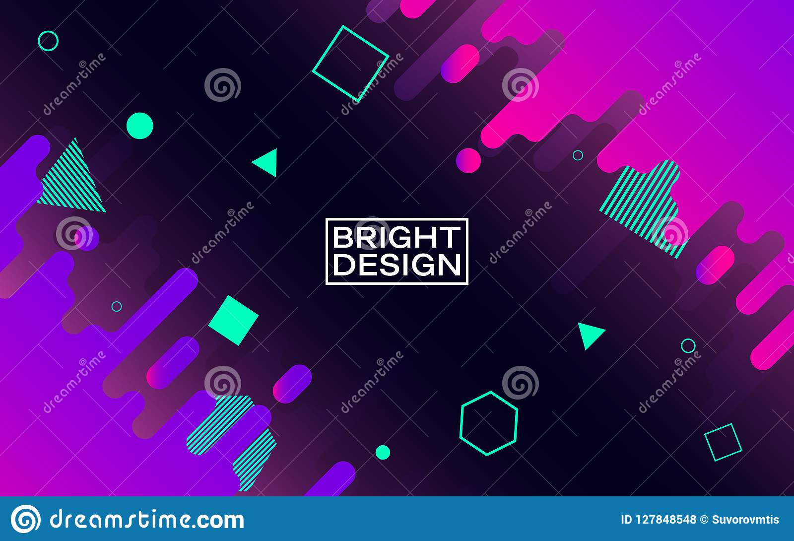 Diseño moderno abstracto Formas del color en espacio Elementos geométricos brillantes en fondo oscuro Composición colorida de mod