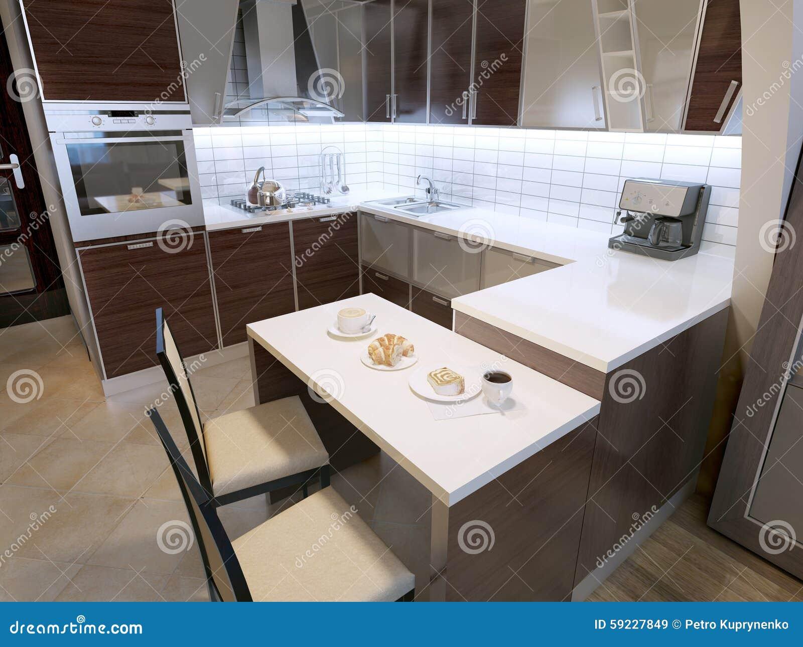 Diseño moderno de la cocina del zebrano