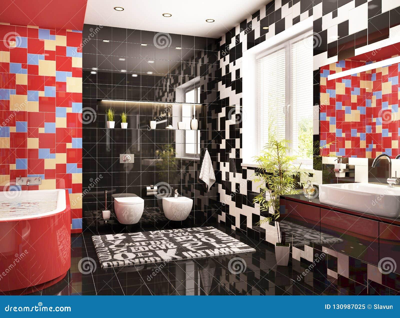 Diseño Moderno Del Cuarto De Baño Con Una Ventana Imagen de ...