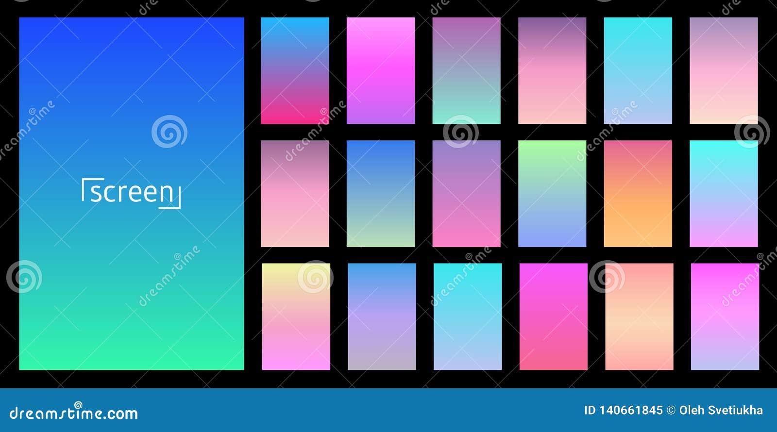Diseño moderno del vector de la pantalla para el app móvil Colección de pendiente suave del fondo del color Placas con efecto de