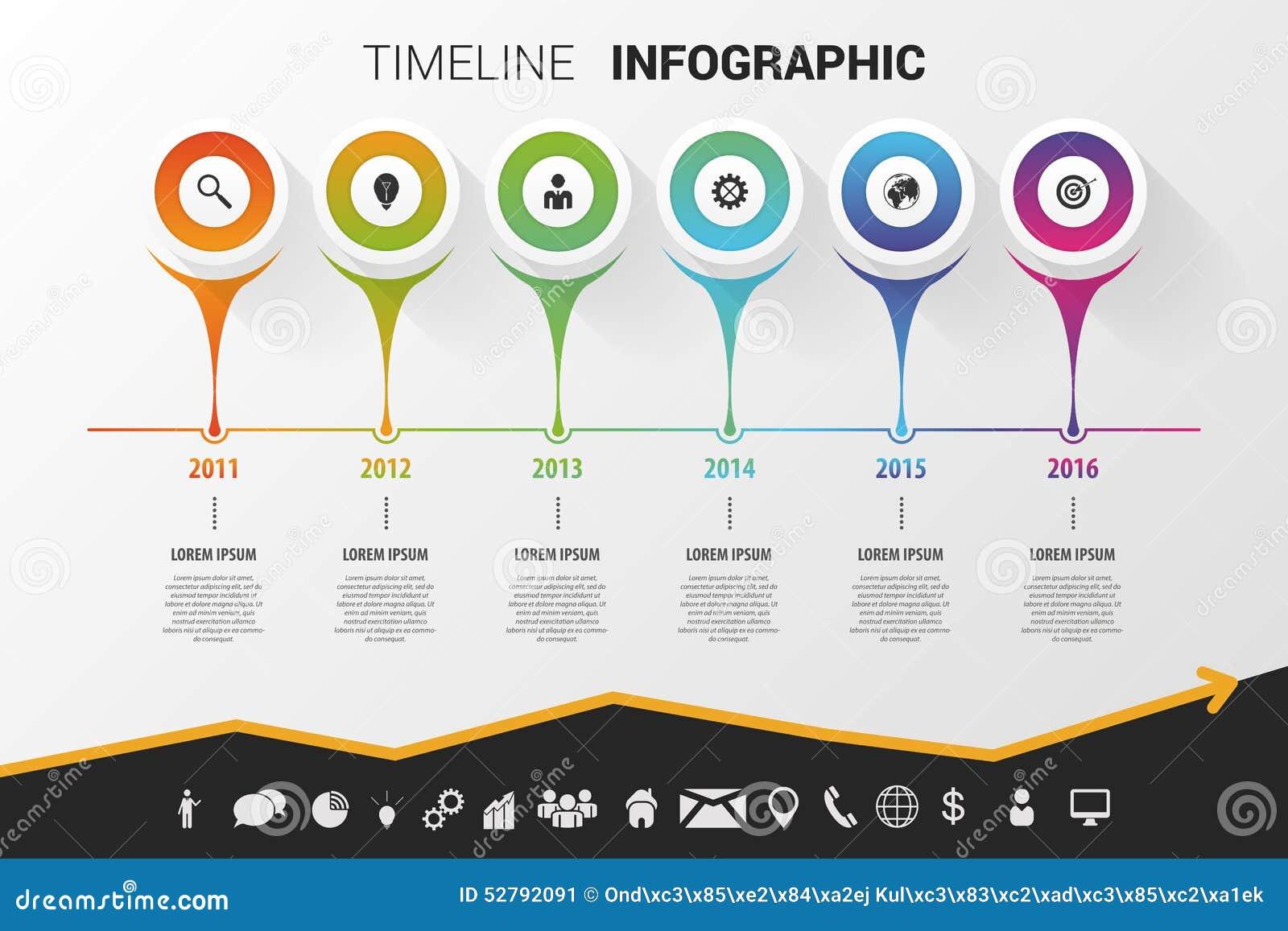 Diseño moderno infographic de la cronología Vector con los iconos