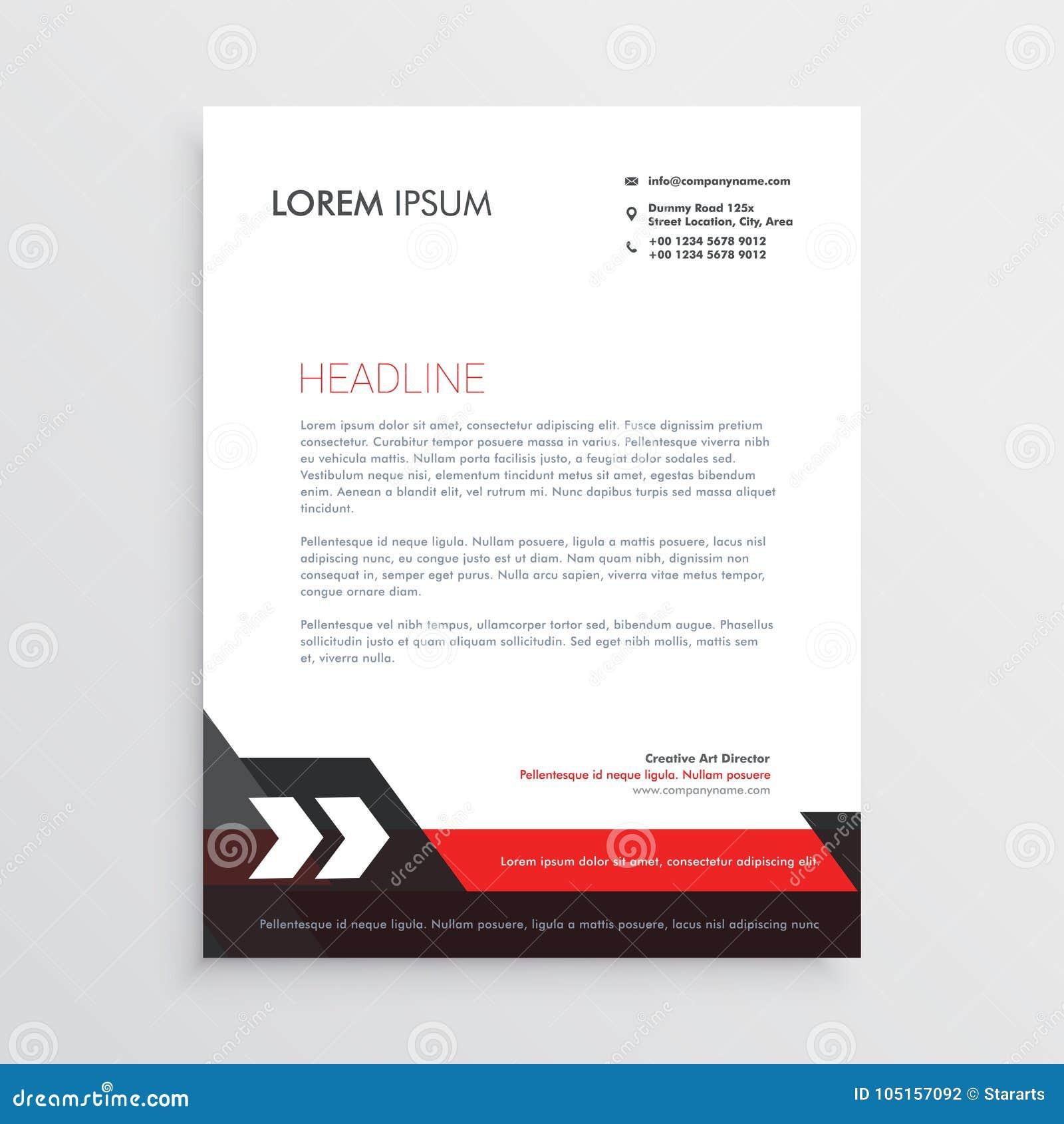 Diseño Negro Rojo De La Plantilla Del Papel Con Membrete Ilustración ...