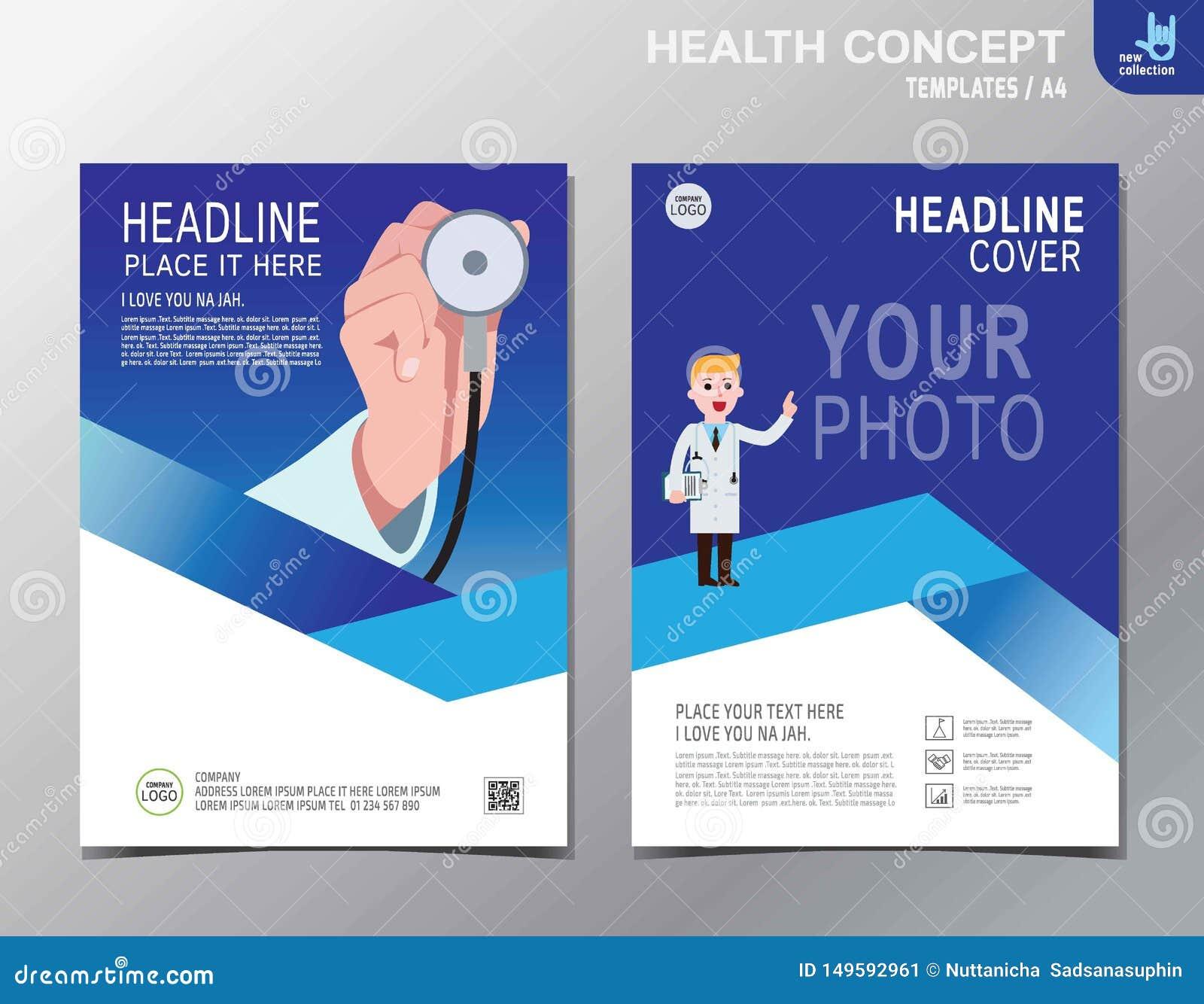 Diseño plano de la historieta del vector de la salud del negocio folleto del fondo de la bandera