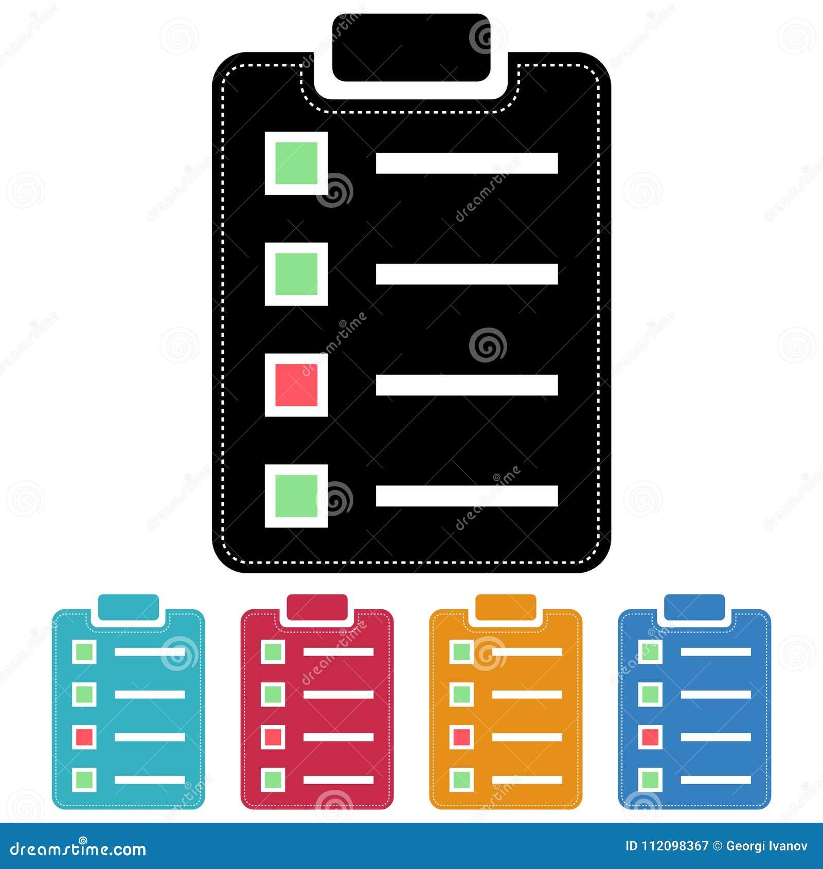 Diseño plano de la lista de control/del icono de la encuesta Cinco variaciones del color Aislado en blanco