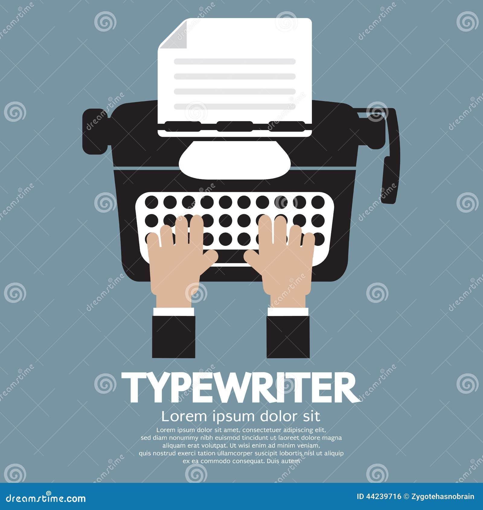 Diseño plano de máquina de escribir la máquina escribir clásica