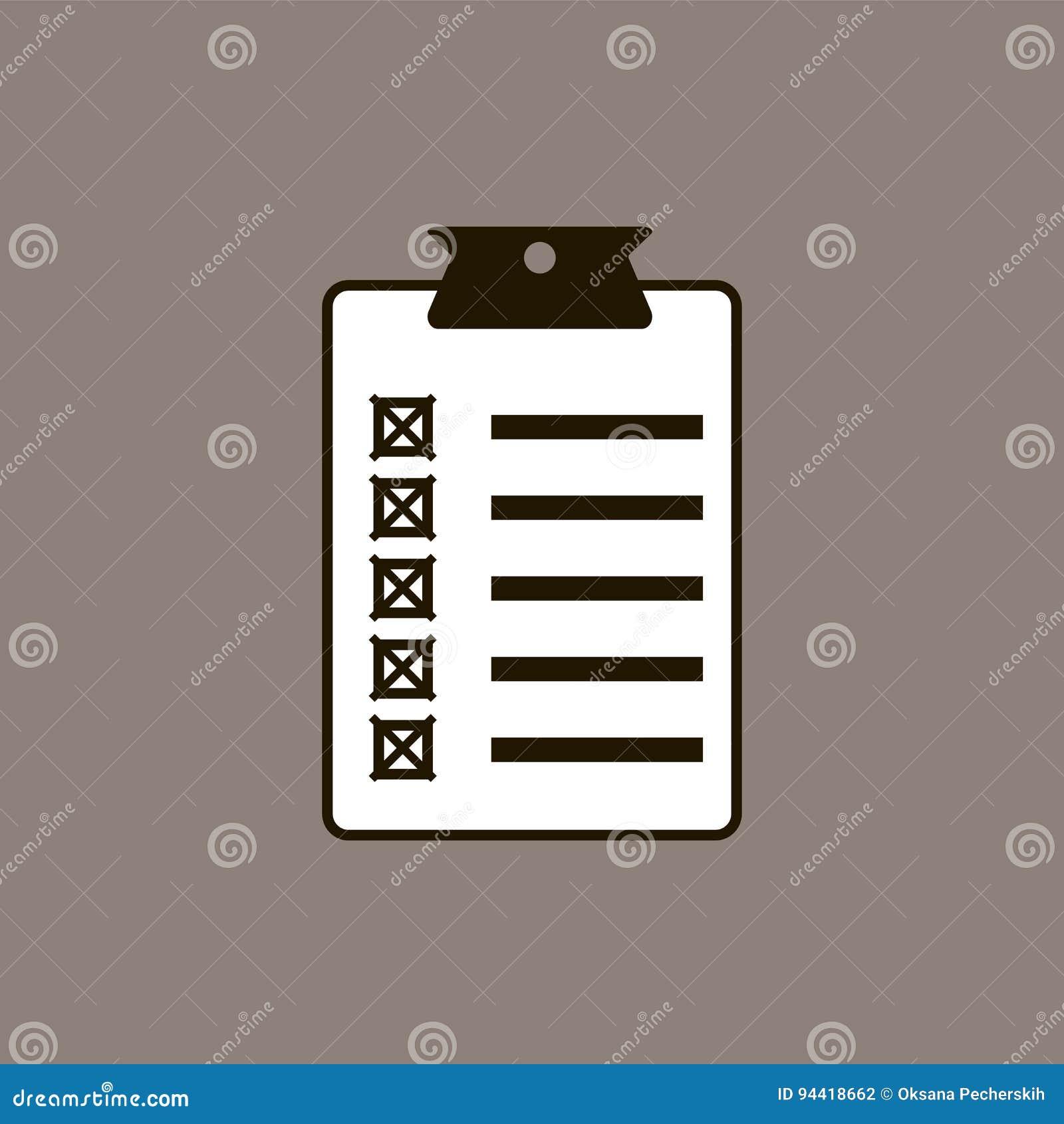 Diseño plano del ejemplo del vector del icono de la lista de control