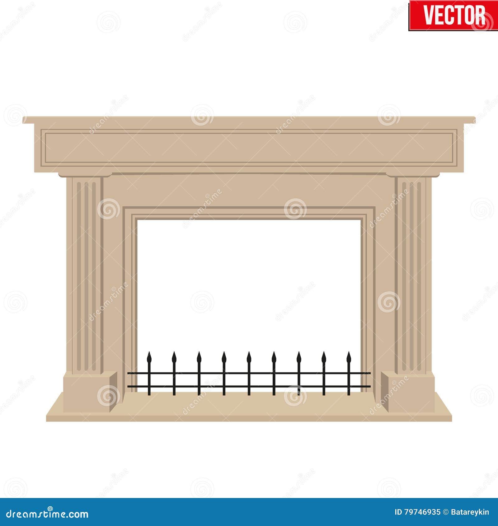 Diseño plano del estilo de la chimenea tradicional