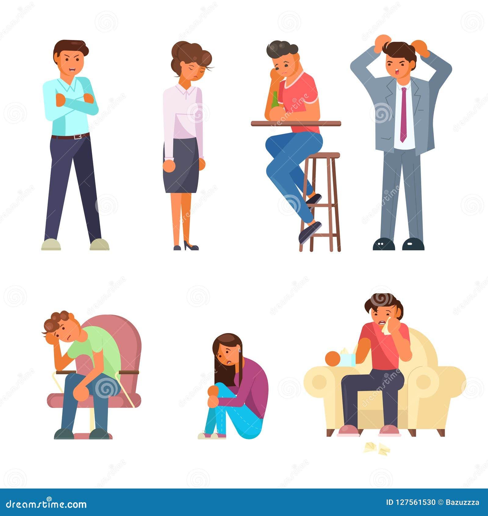 Diseño plano del estilo de la gente del vector determinado deprimido del icono