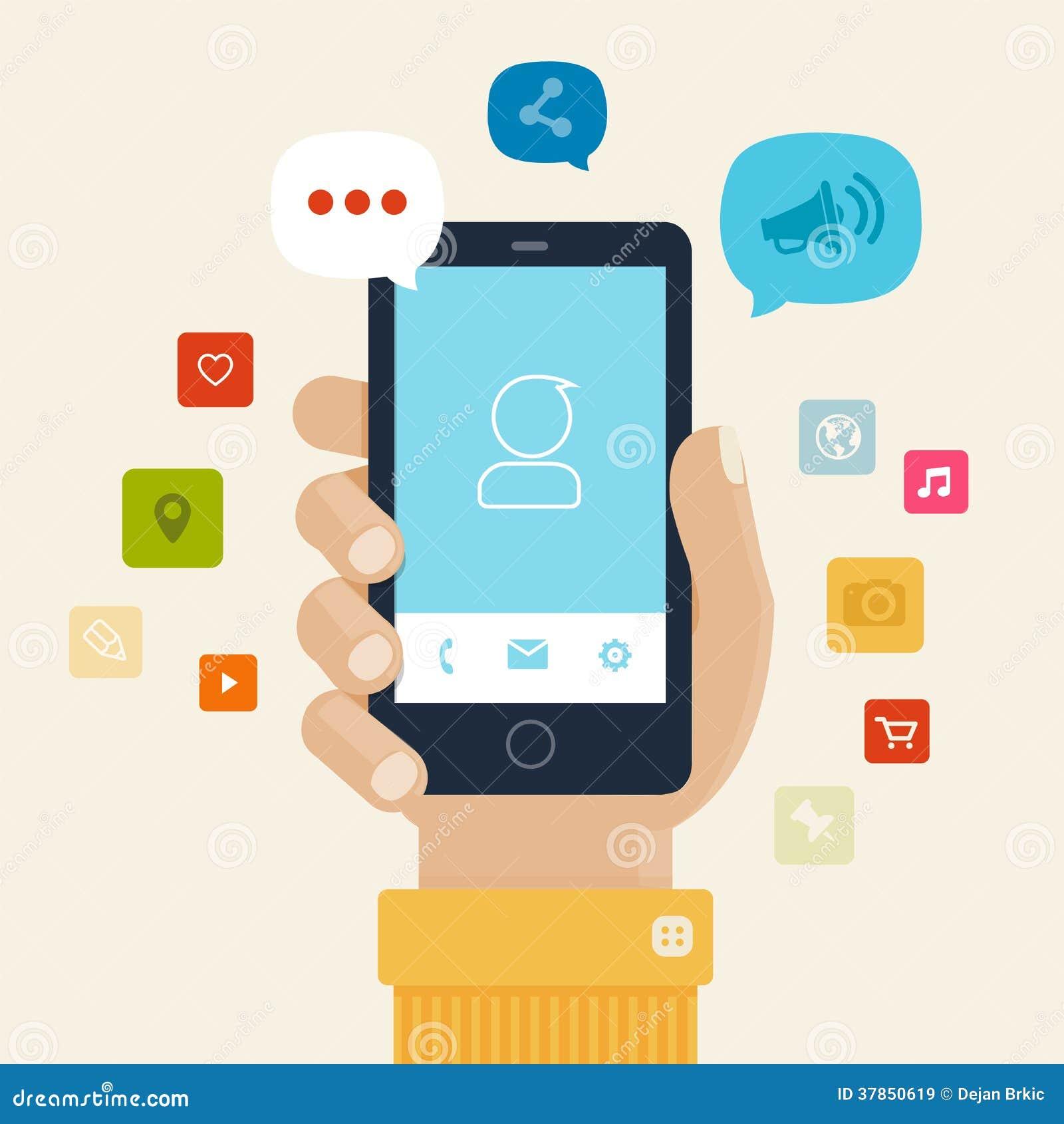 Diseño plano del icono de los apps de Smartphone