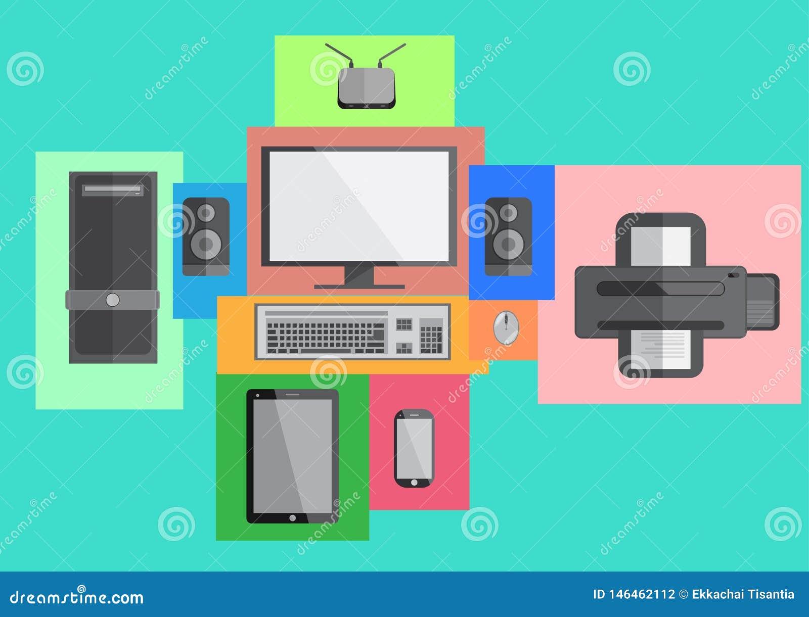 Diseño plano elegante del teléfono y de la tableta del sistema del ordenador