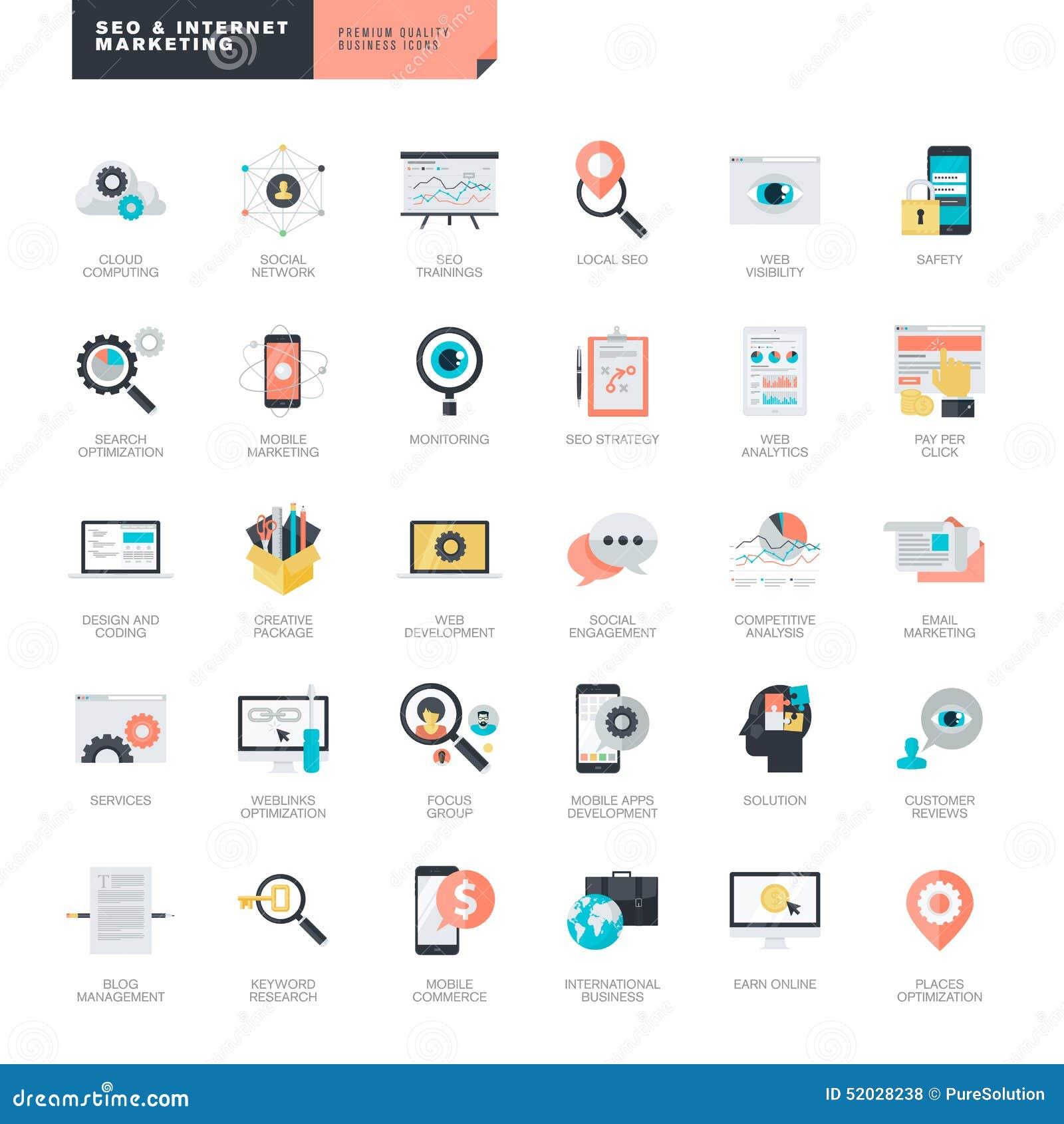 Diseño plano SEO e iconos del márketing de Internet para el gráfico y los diseñadores web