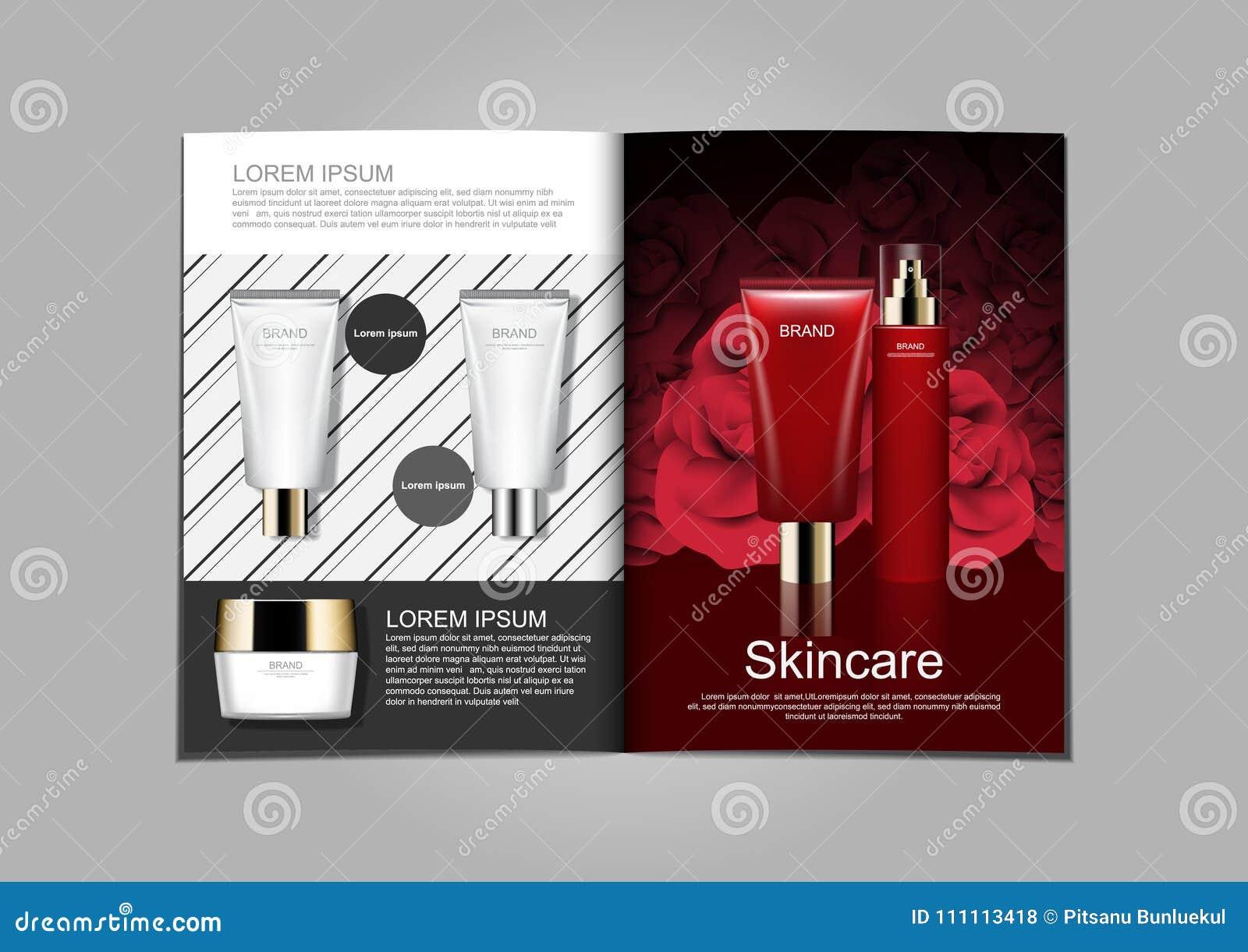Diseño plantilla de los anuncios, del folleto cosméticos de Skincare con negro y w