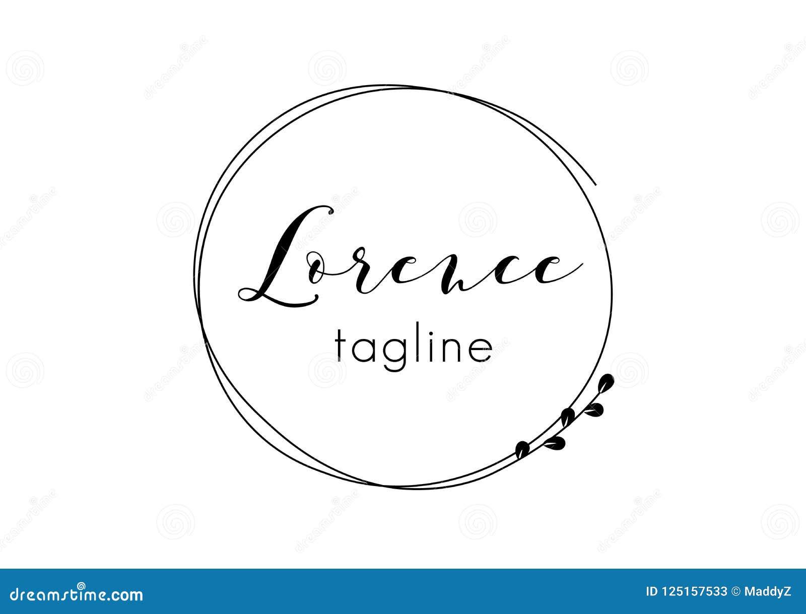 Diseño preparado de antemano del logotipo con la guirnalda floral minimalistic Plantilla femenina del logotipo en estilo artístic