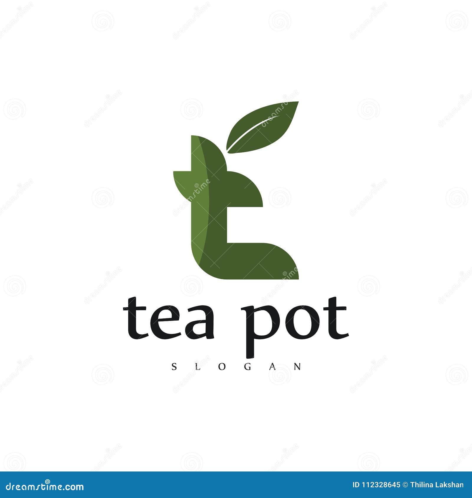Diseño profesional moderno del logotipo del café de la tetera, logotipo del té, logotipo verde creativo de la letra t, diseño de
