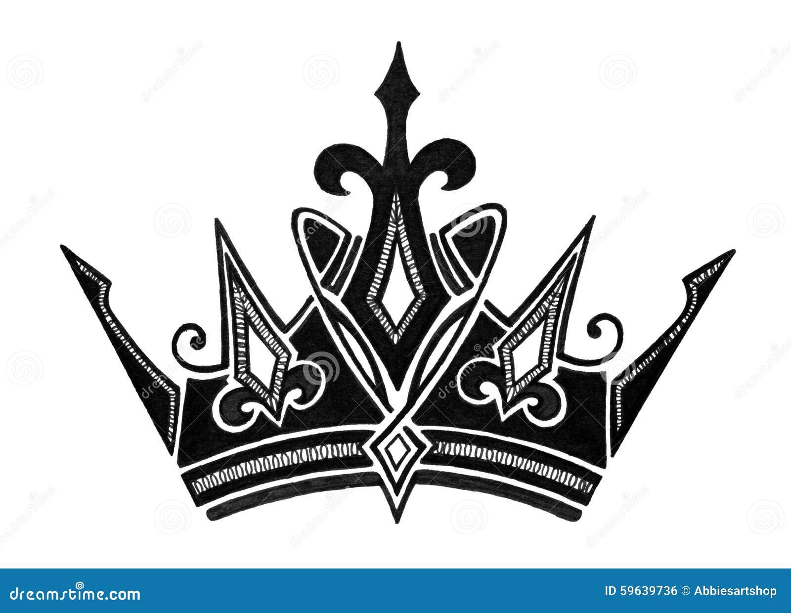 Diseño Real De La Corona En Blanco Y Negro Para Rey Queen Prince O