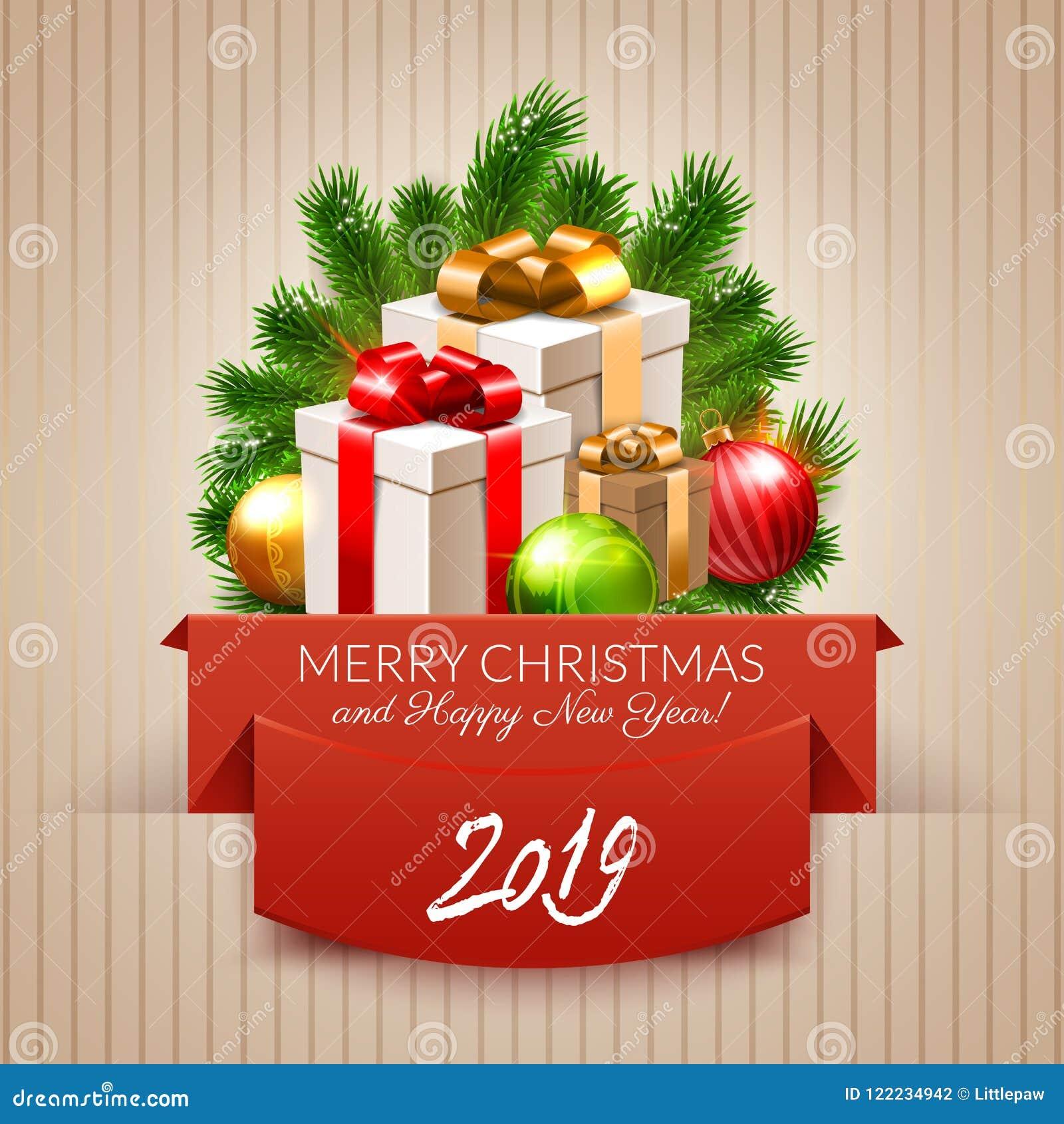 Postal de feliz navidad y ano nuevo 2019