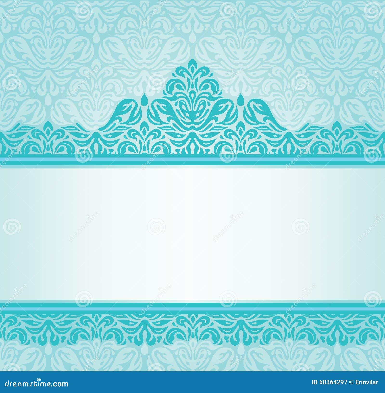 Dise o retro de la invitaci n de la turquesa ilustraci n for Papel pared turquesa