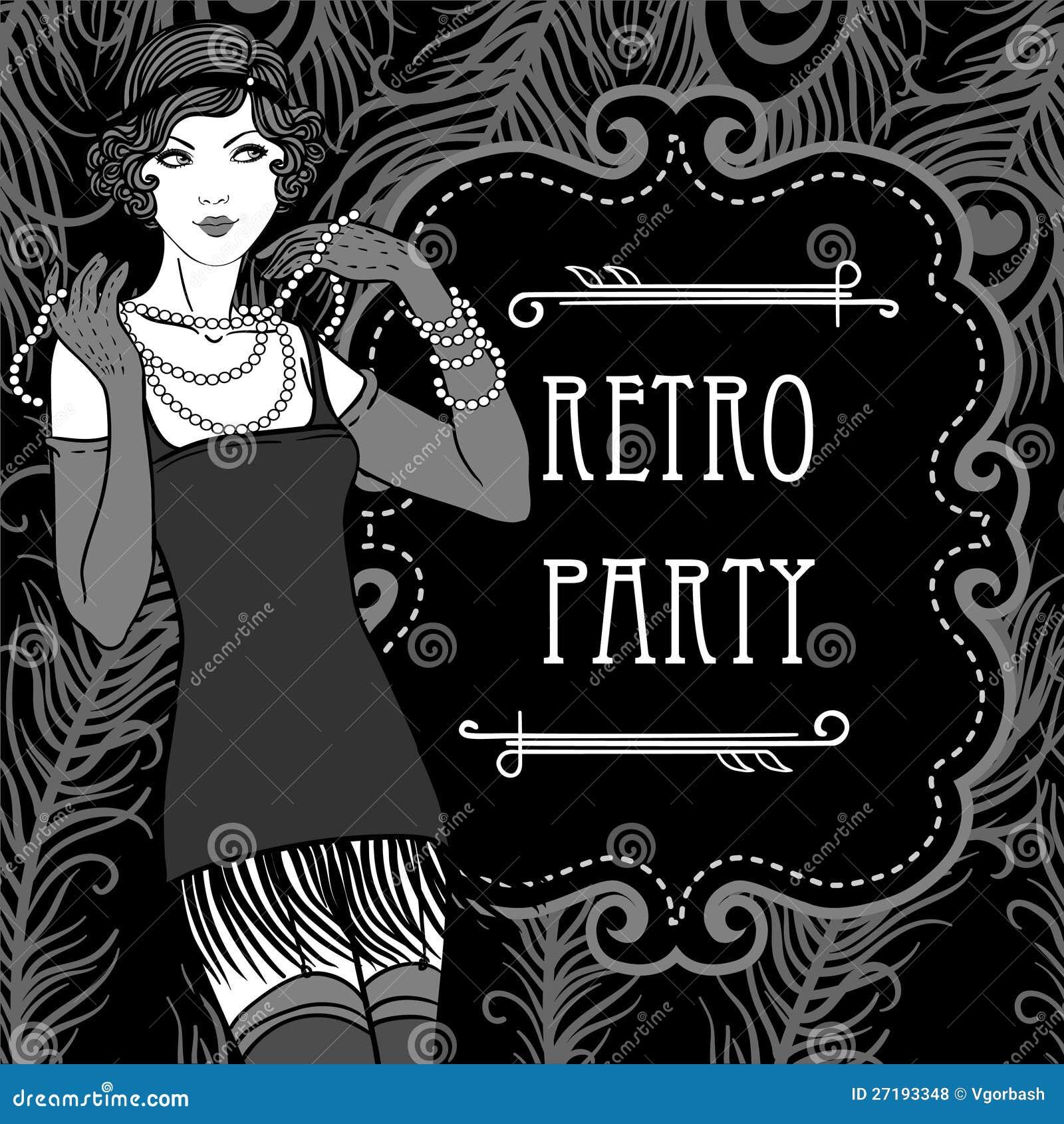 Dise o retro de la invitaci n del partido en estilo de los for Diseno de interiores anos 70