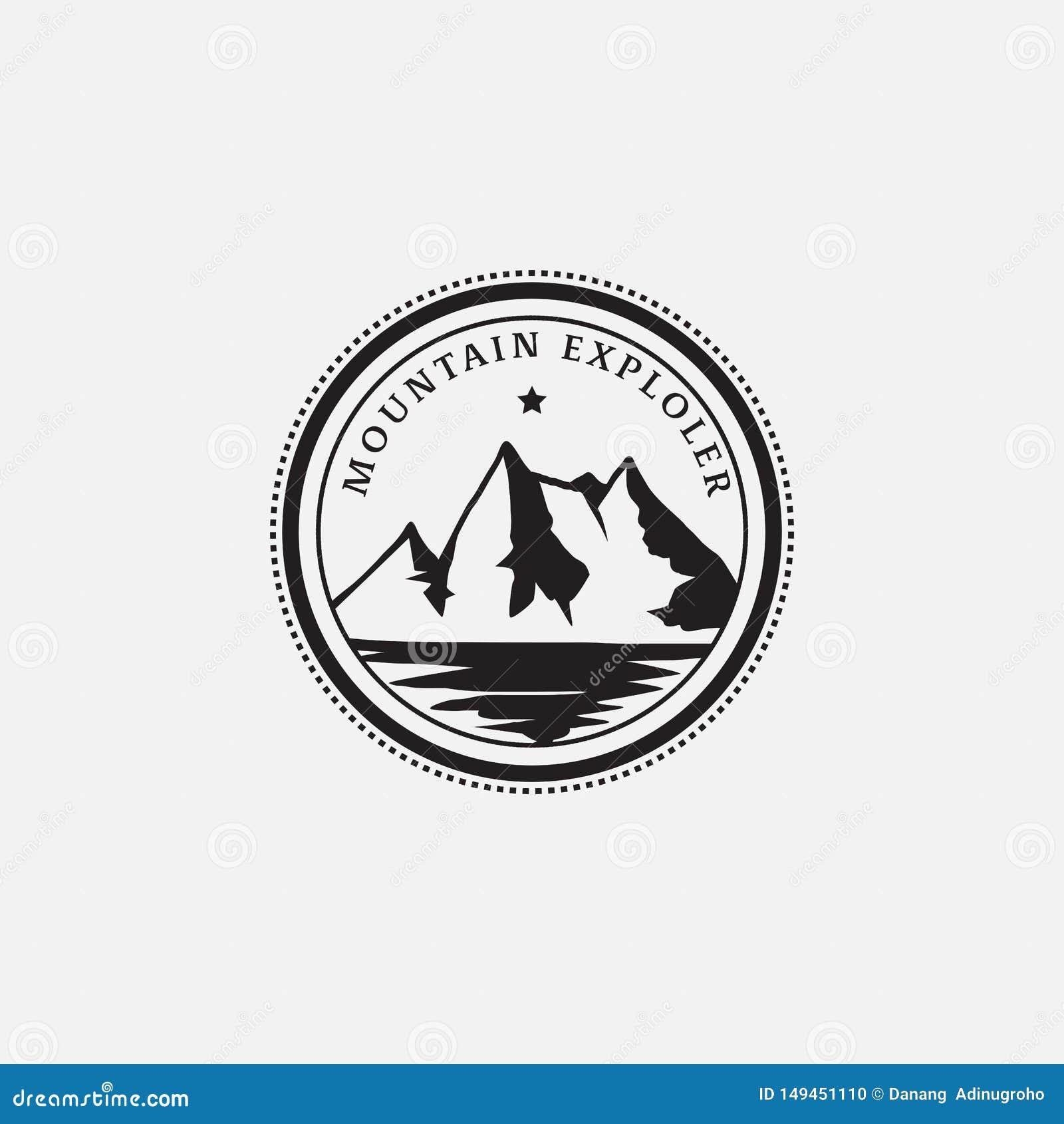 Diseño retro del inconformista del logotipo de la insignia del explorador de la montaña