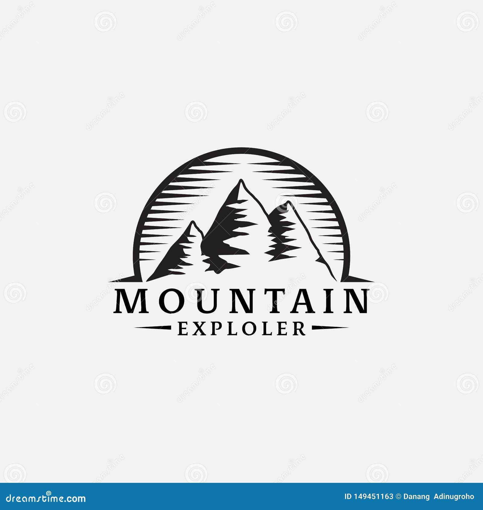 Diseño retro del inconformista del logotipo del explorador de las montañas