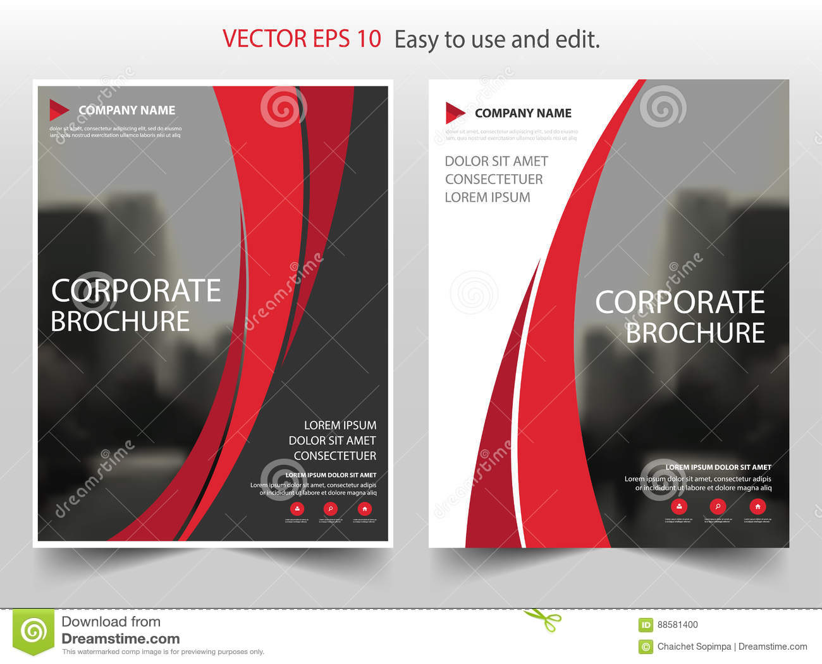 Diseño rojo de la plantilla del aviador del prospecto del informe anual del folleto del vector de curva, diseño de la disposición