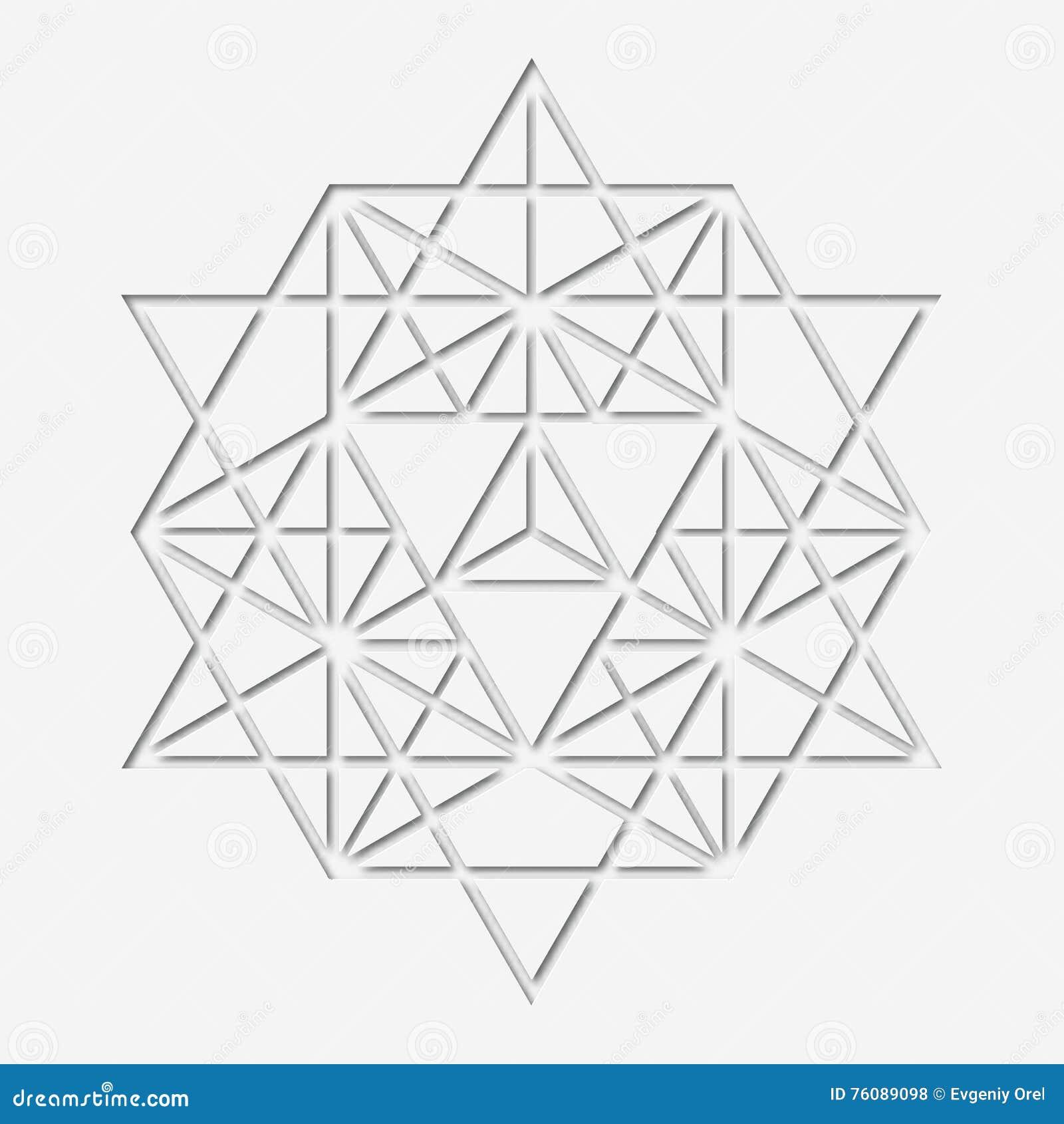 Diseño sacro de la geometría con el polígono símbolo mágico Papel-hecho, cristal místico Gráfico parecido al papel espiritual