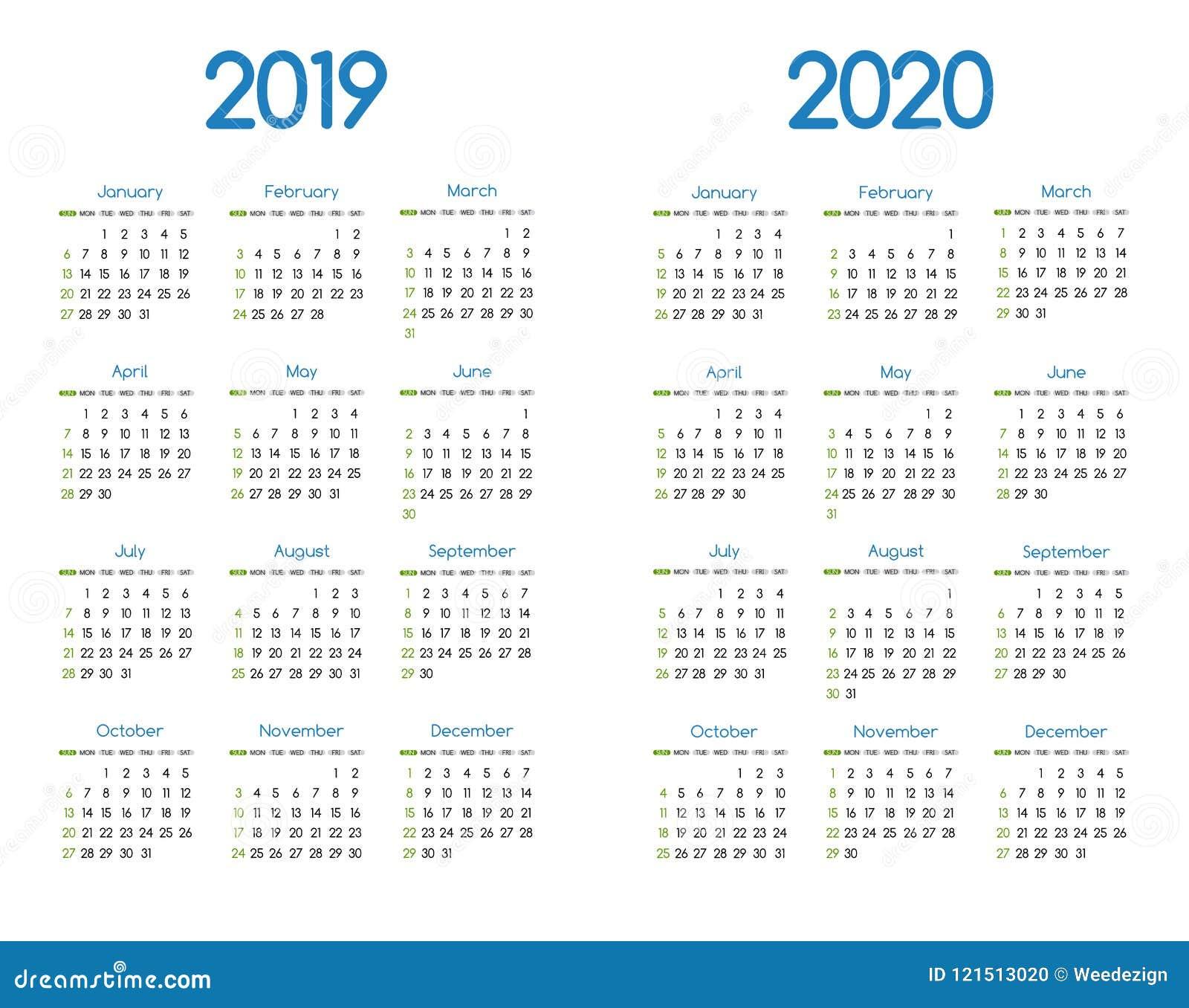Calendario Escolar 20202020.Diseno Simple Moderno Del Calendario Del Vector Del Ano Nuevo 2019 Y