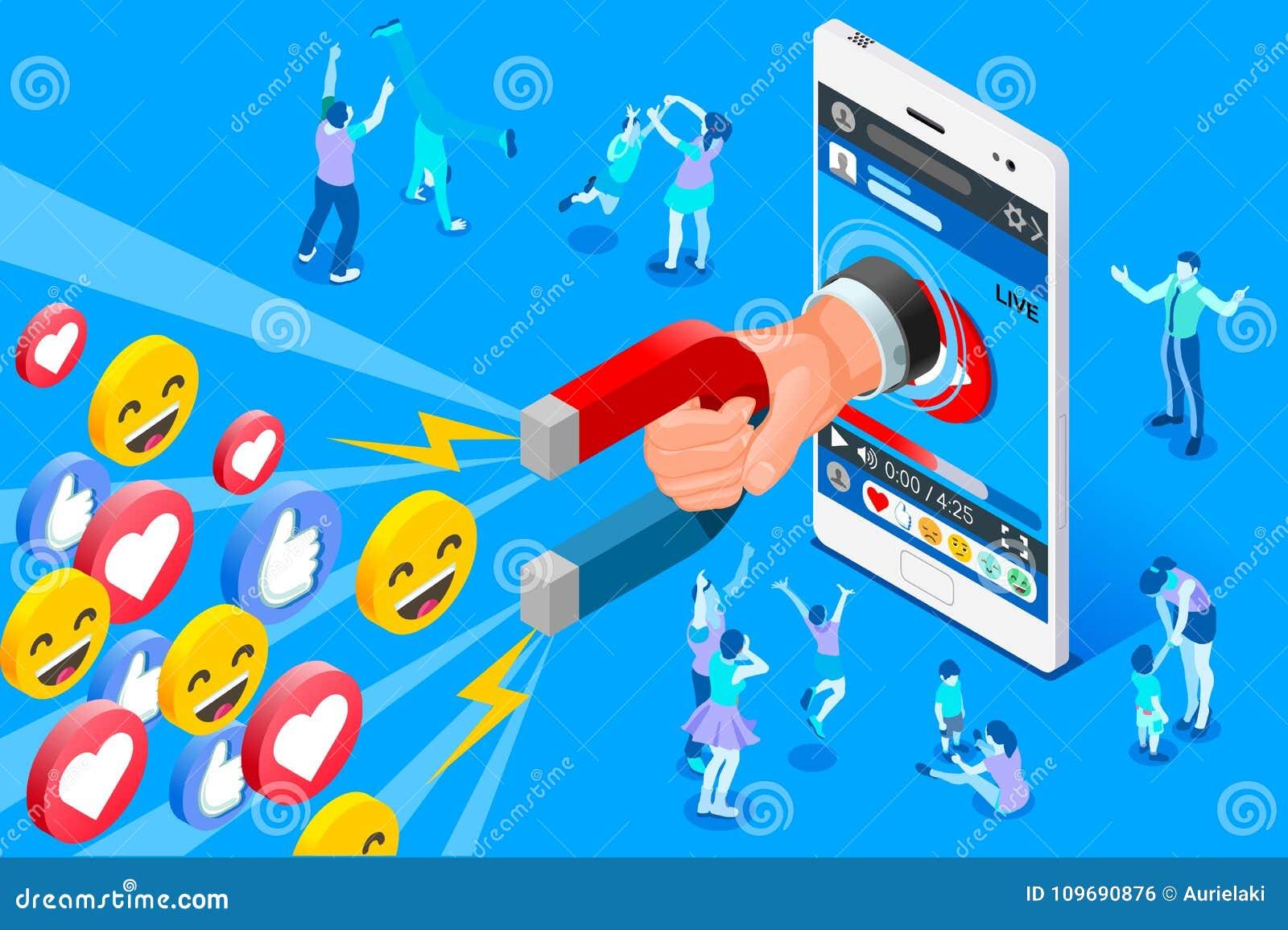 Diseño social del vector del concepto de Influencer