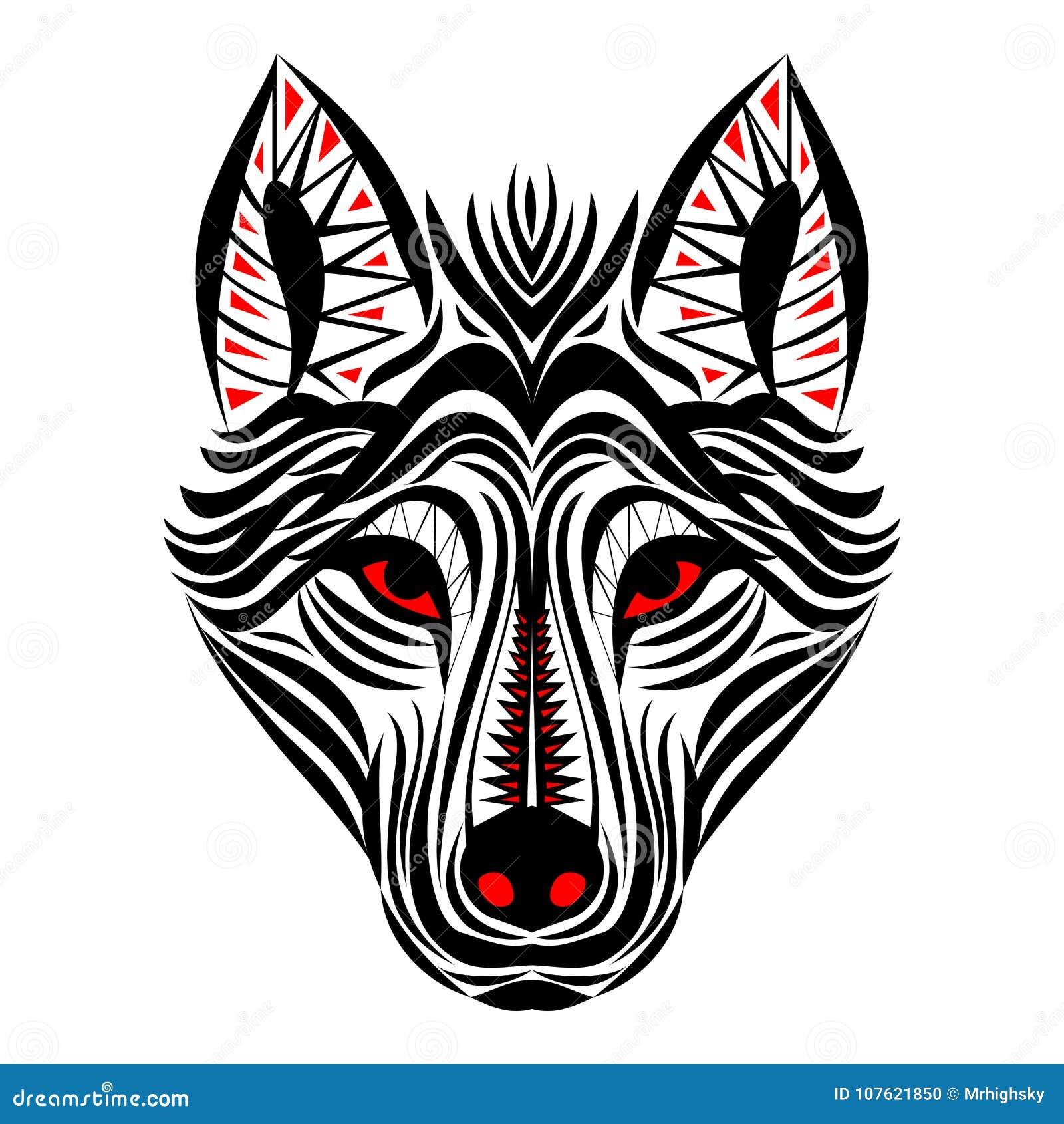 Diseño Tribal Del Tatuaje De La Cara Del Lobo Ilustración Del Vector