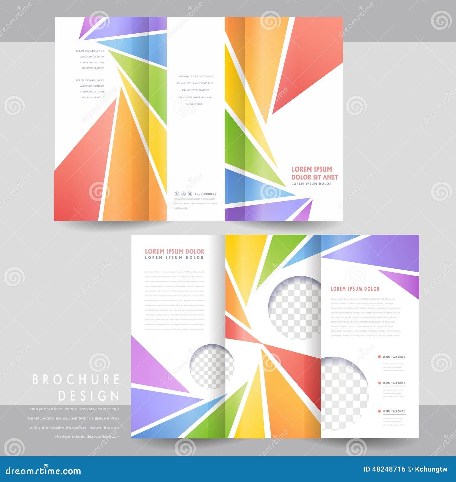 Diseño Triple Colorido De La Plantilla Del Folleto Ilustración del ...