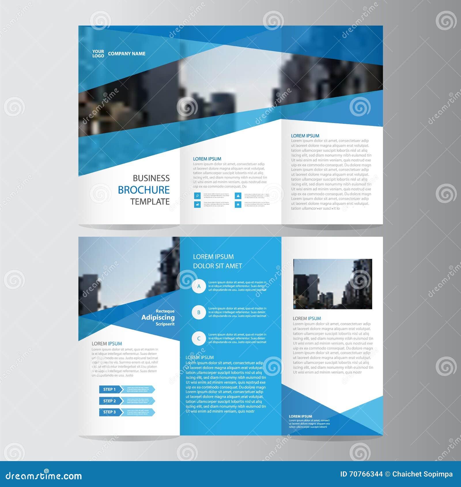 Diseño triple de la plantilla del aviador del folleto del prospecto del negocio azul, diseño de la disposición de la cubierta de