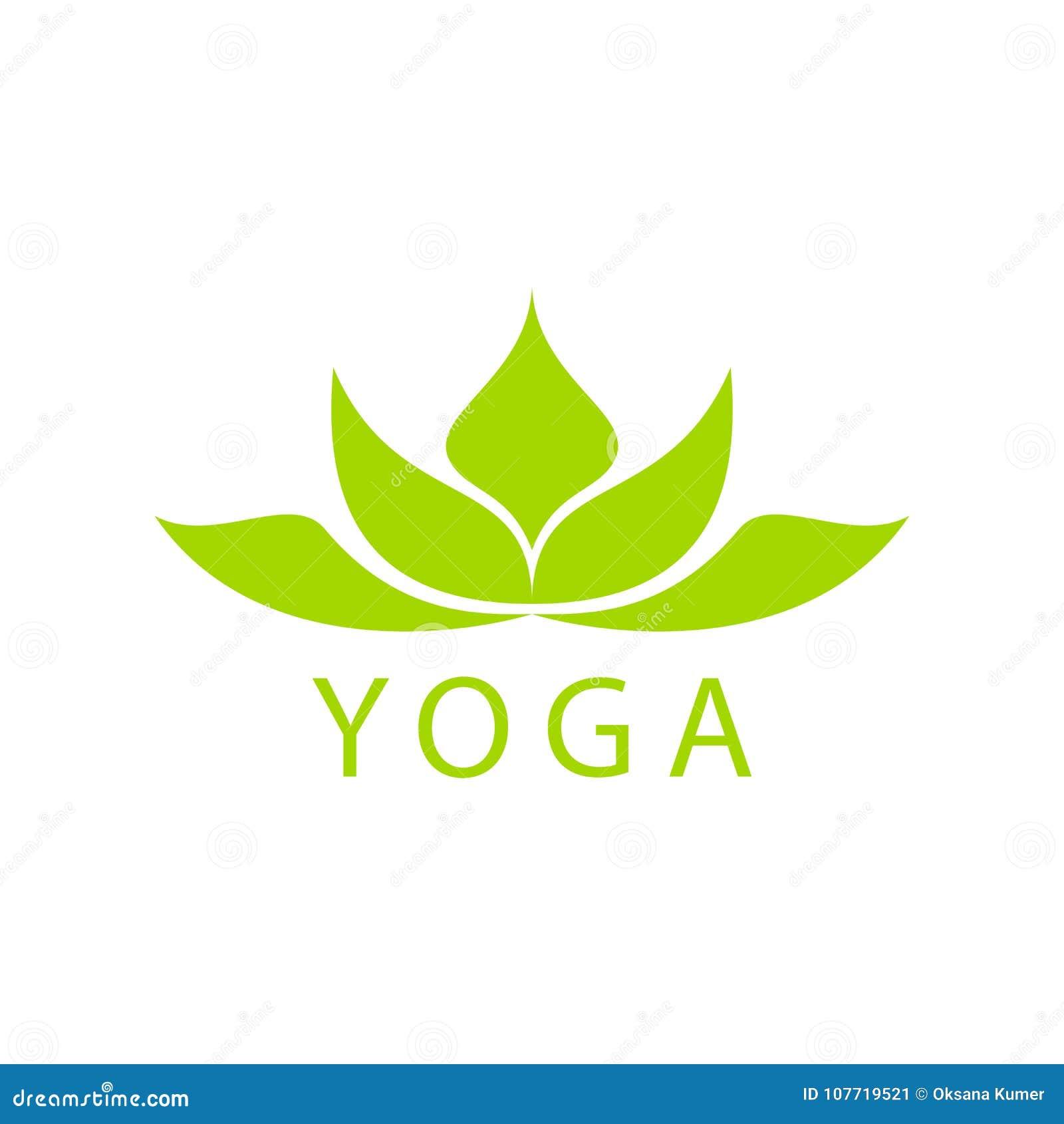 Diseño Verde Abstracto Del Logotipo De La Flor De Loto Ilustración