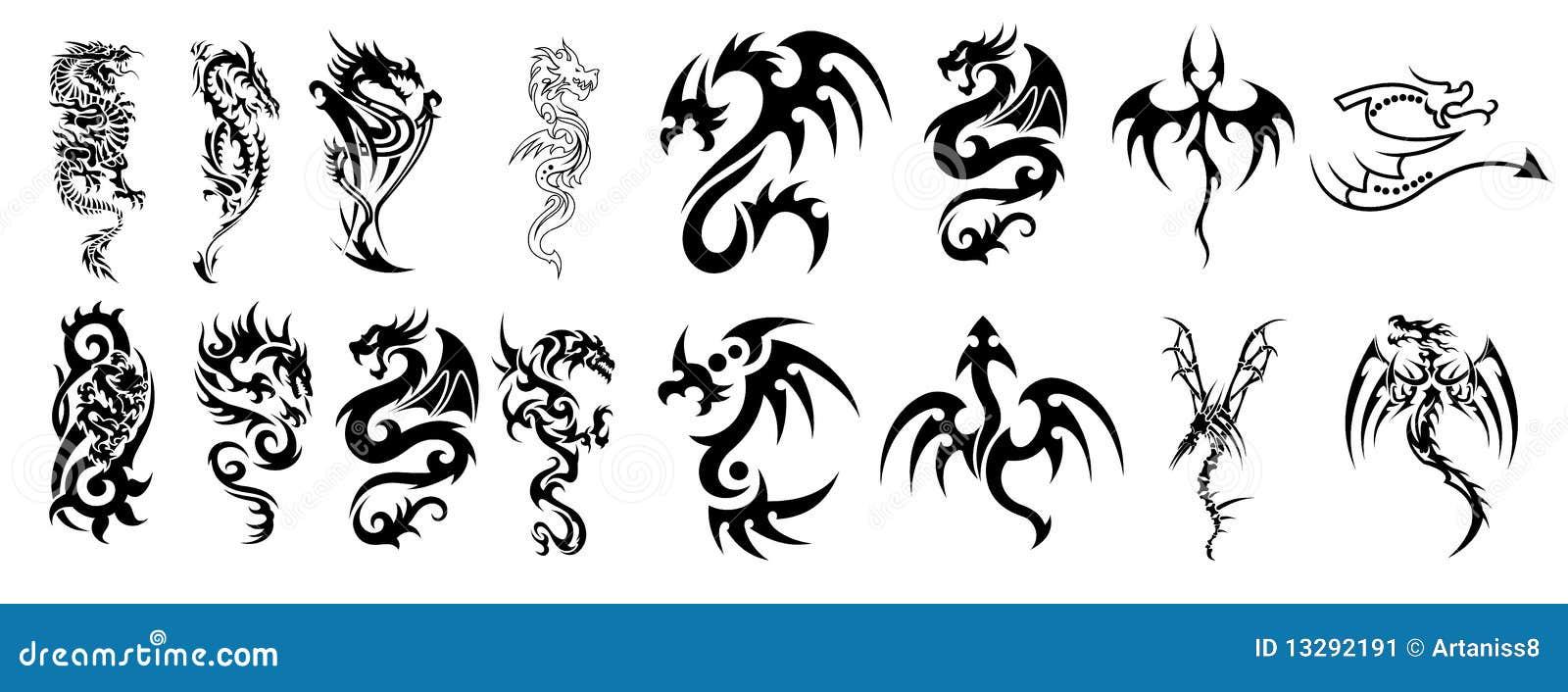 Diseños complejos del dragón para los tatuajes