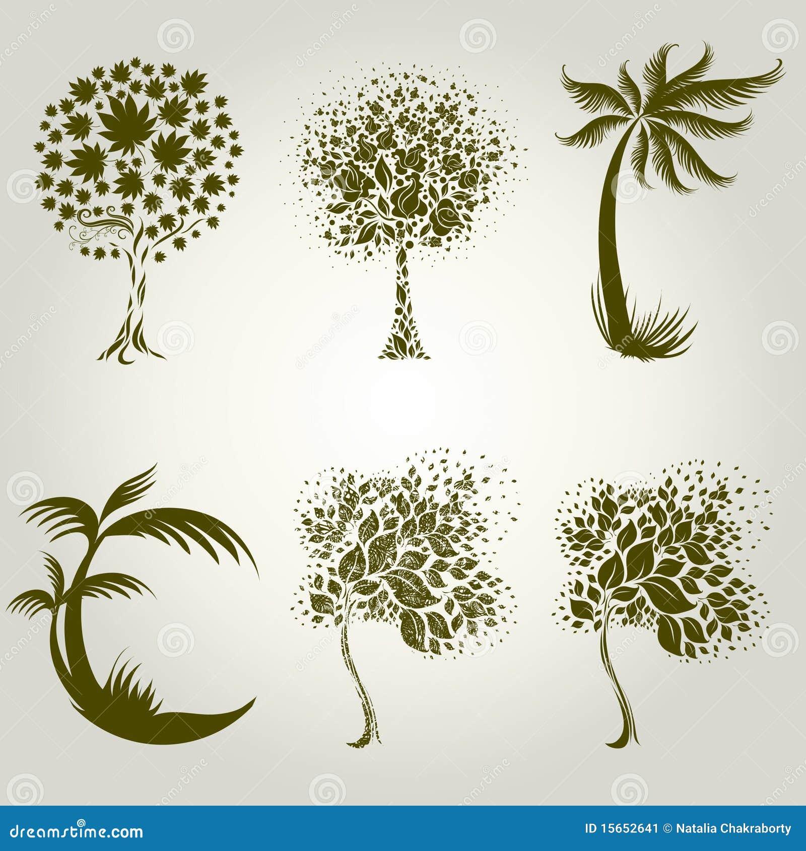 dise os con el rbol decorativo de las hojas ilustraci n