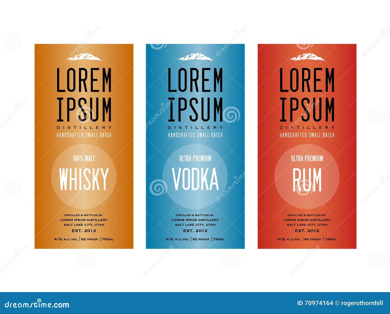 Diseños de la etiqueta de la botella del licor