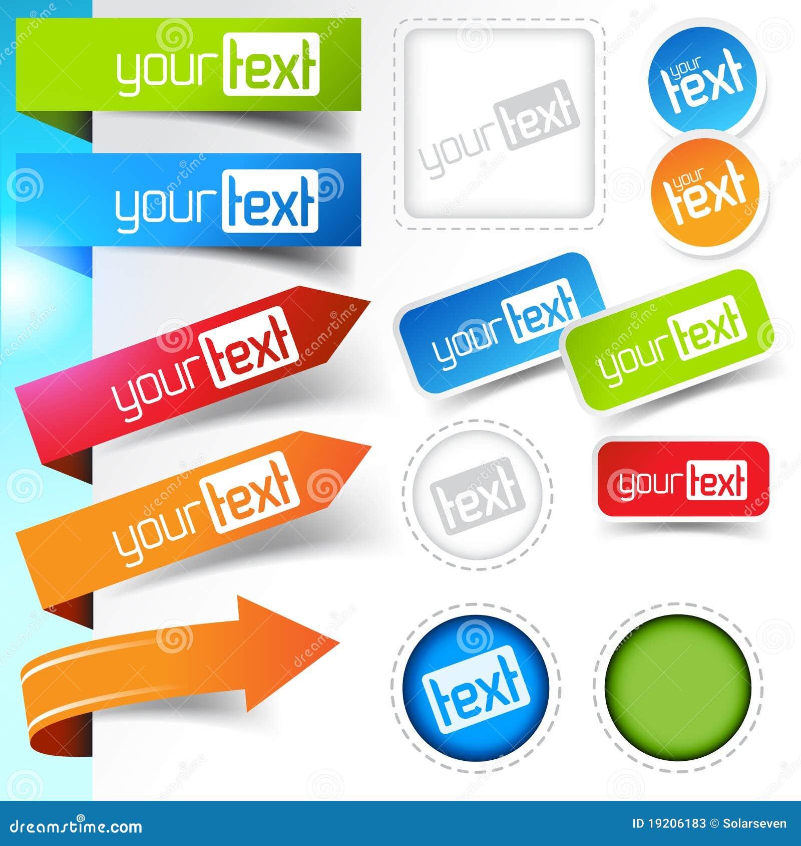 Diseños de la etiqueta engomada del Web page