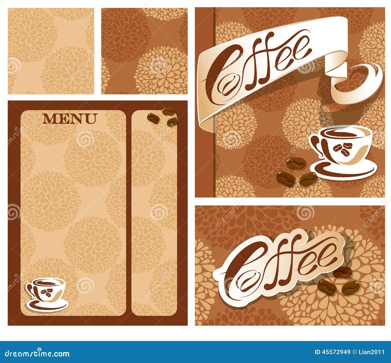 Diseños De La Plantilla De Tarjeta Del Menú Y De Visita Para El Café ...