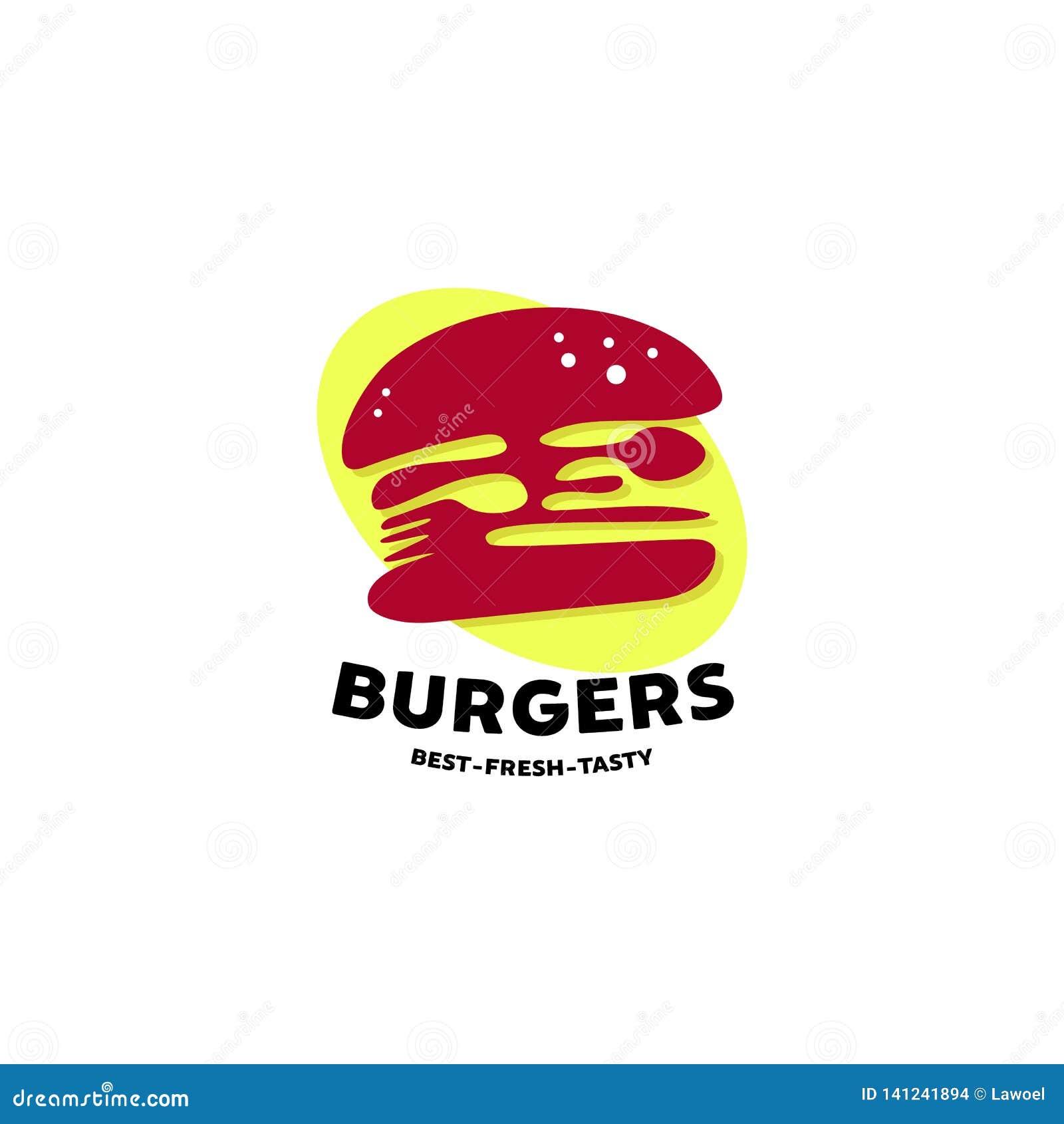 Diseños del logotipo de las hamburguesas con símbolo de la cuchara y de la bifurcación