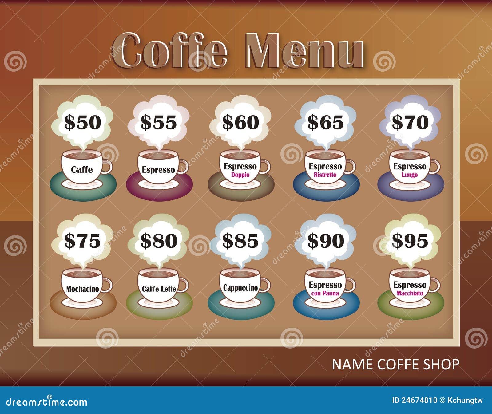 Dise os del modelo de men para la cafeter a foto de for Disenos de menus para cafeterias