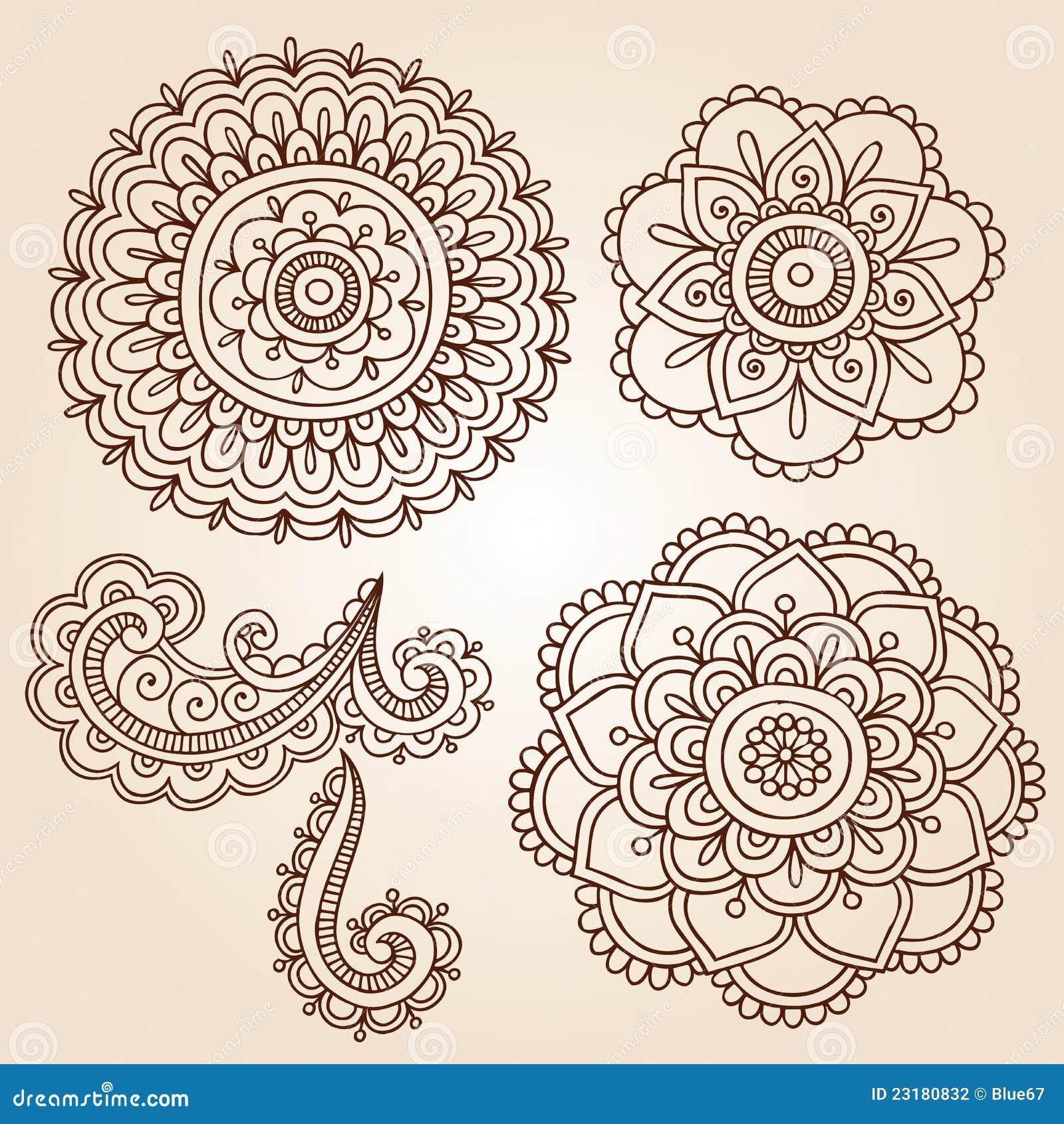 Dise os del vector del doodle de la mandala de la flor del for Disenos de mandalas