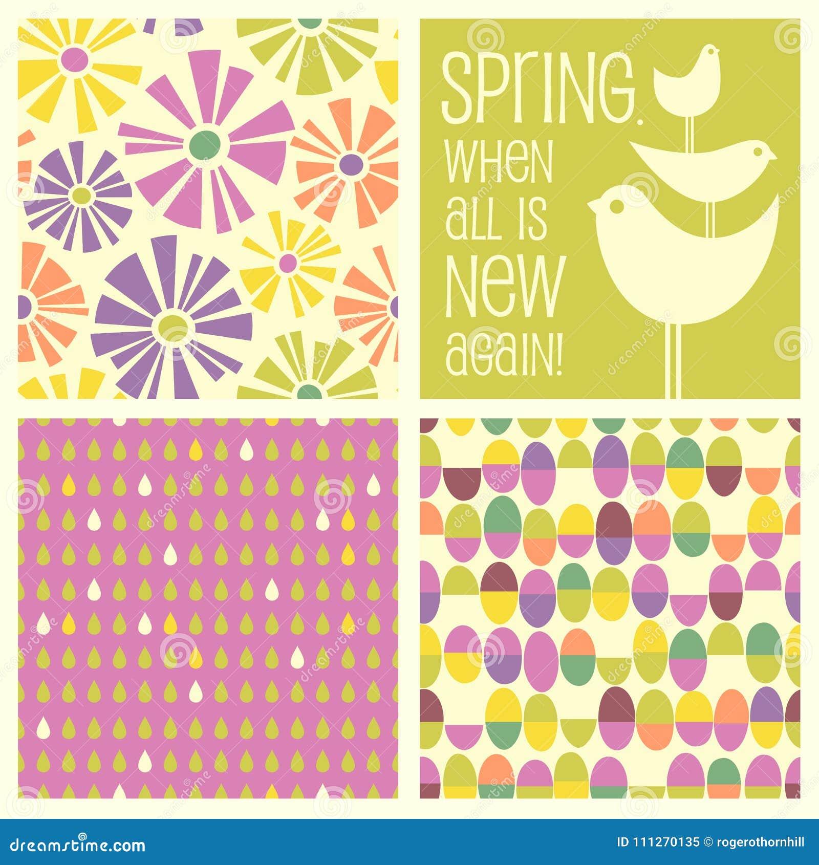 Diseños retros de la primavera y modelos inconsútiles